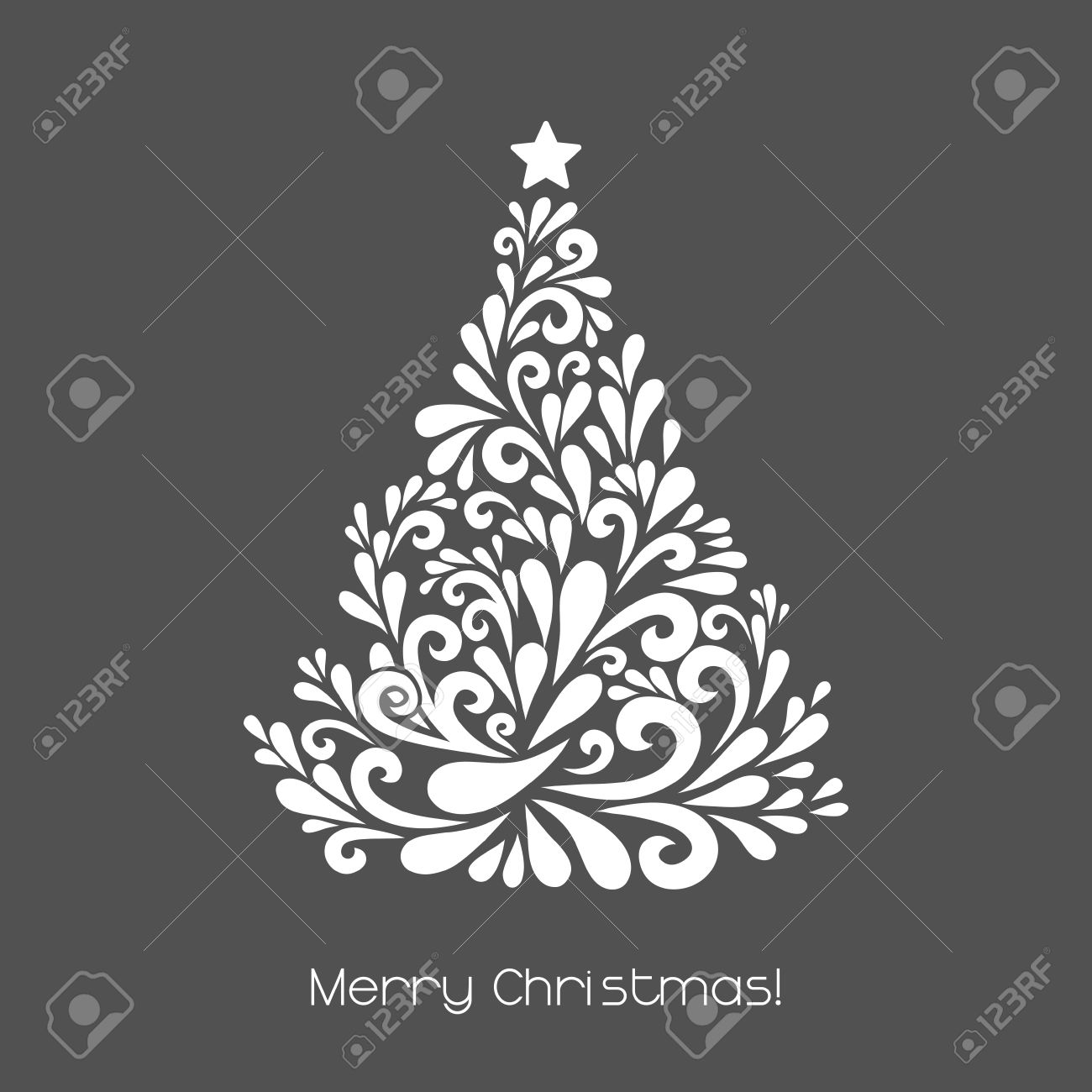 Abstract Christmas Tree. Vector Decoration Made From Swirl Shapes.  Greeting, Invitation Card.