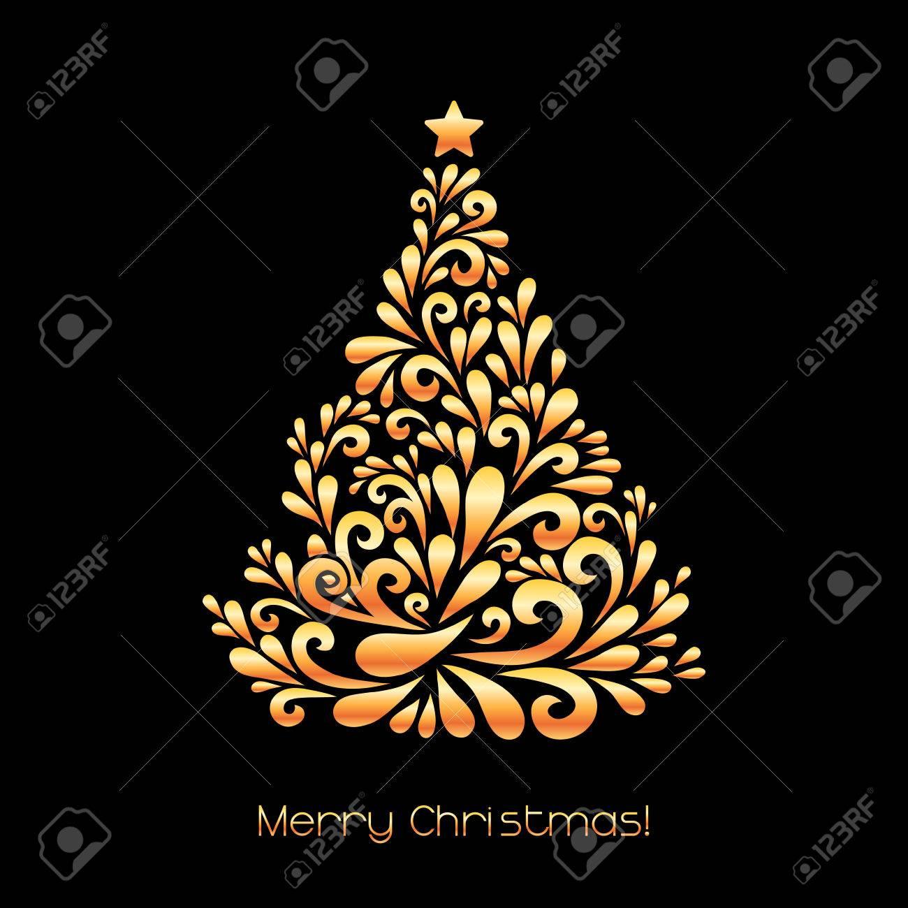 Albero Di Natale Nero E Oro.Albero Di Natale Astratto Decorazione Vettoriale E Composta Da Forme Turbolenza Saluto Carta Di Invito Semplice Nero Decorativo E Illustrazione