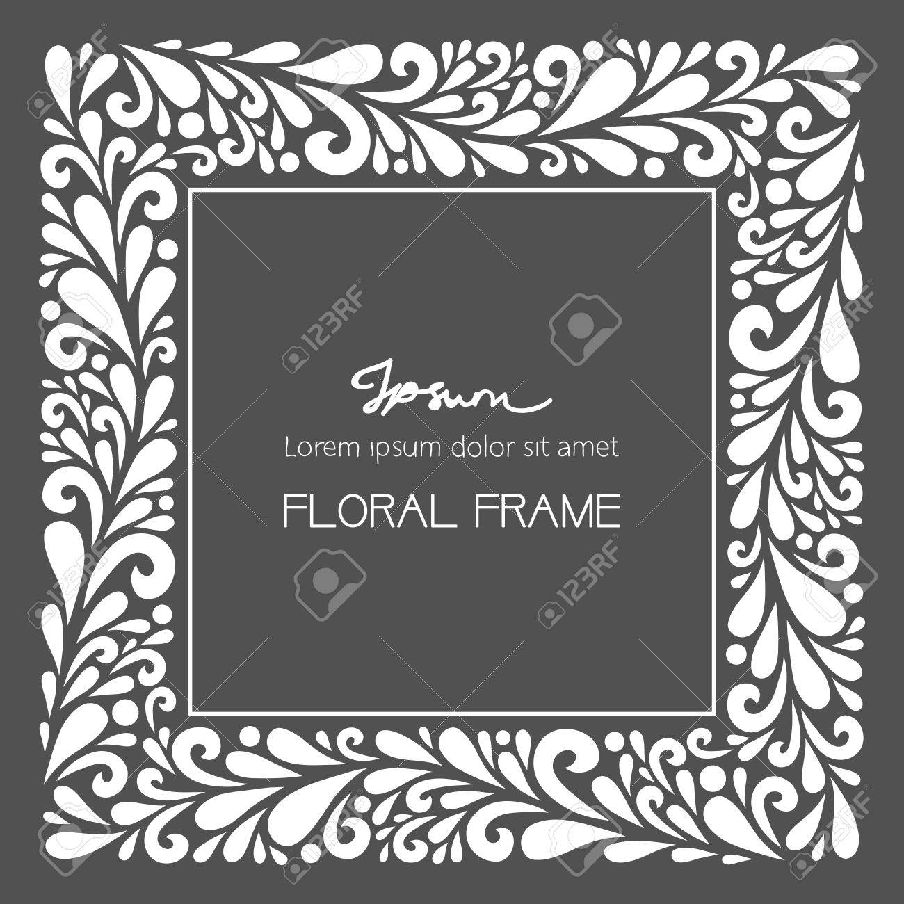 Floral square frame vector floral decoration made from swirl vector floral decoration made from swirl shapes greeting invitation card stopboris Image collections