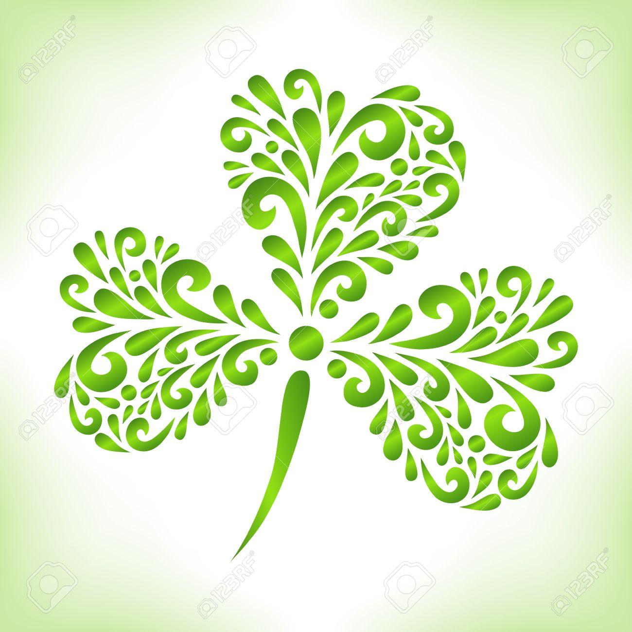 Green shamrock vector floral decoration made from swirl shapes vector floral decoration made from swirl shapes greeting invitation card stopboris Choice Image
