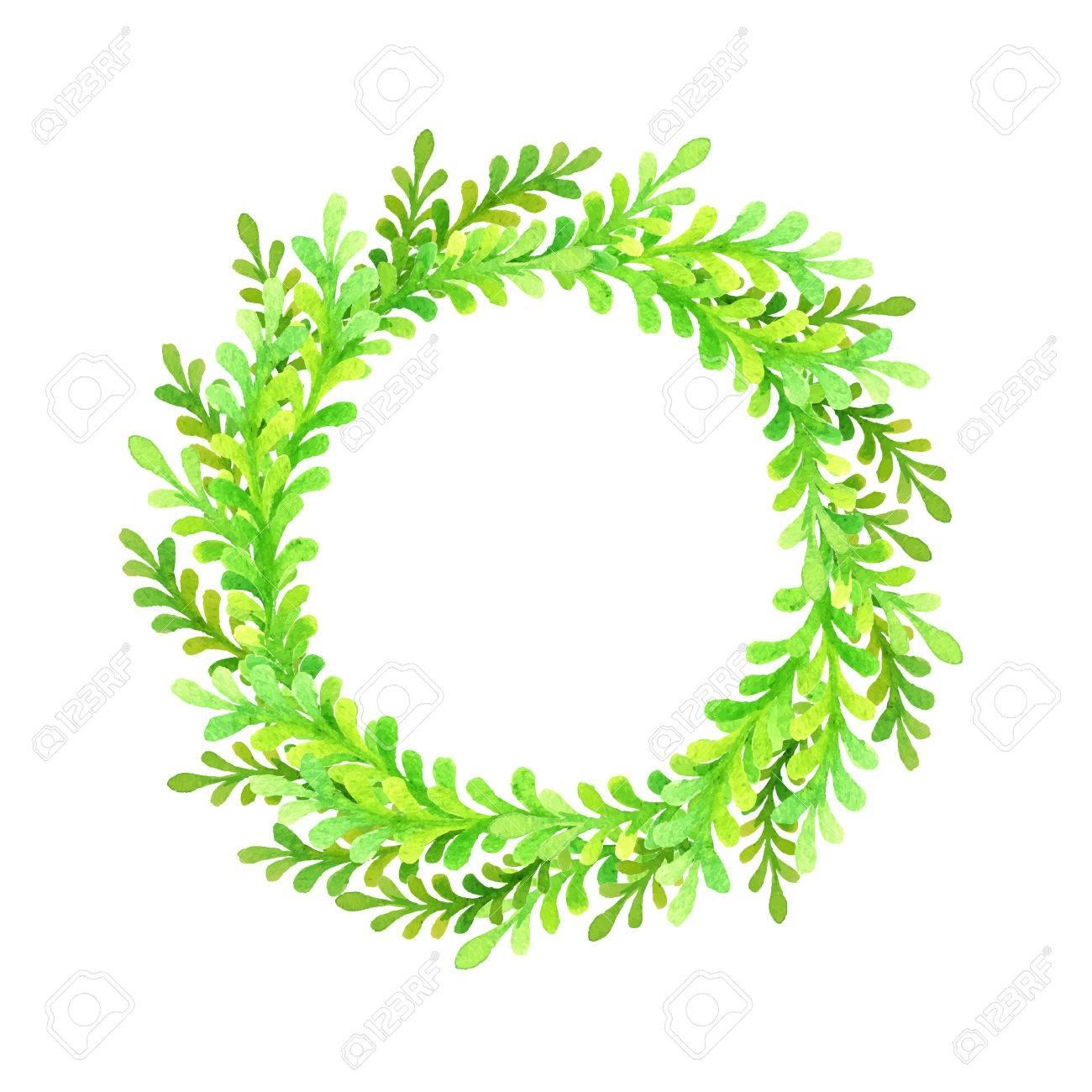 vert cadre rond de laquarelle couronne de fleurs banque dimages