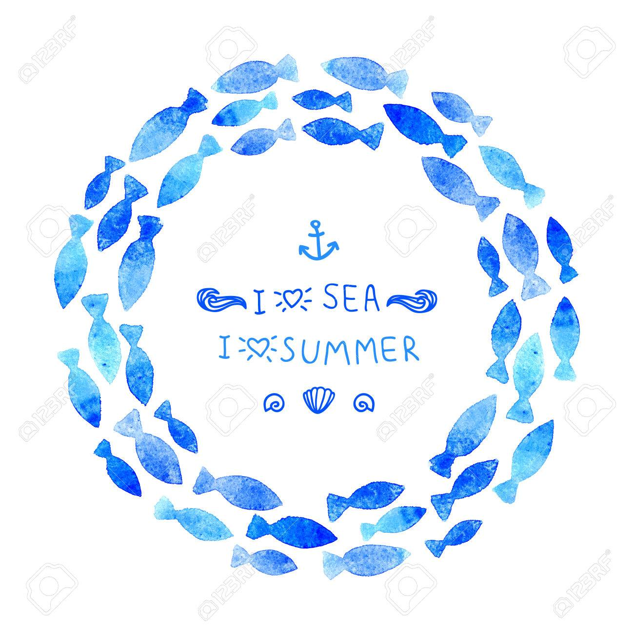 Summer Background Watercolor Wreath Made From Blue Fishes Banner