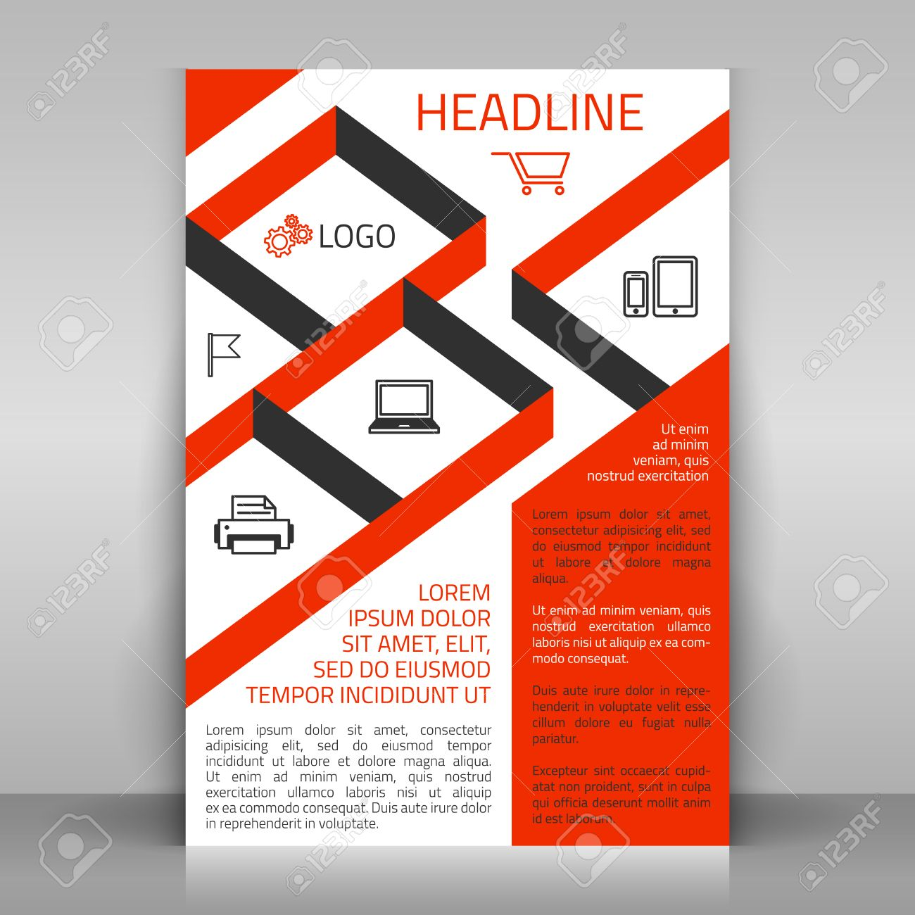Poster design business - Business Flyer Design Poster Template Vector Layout With Orange Diagonal Elements And Icons