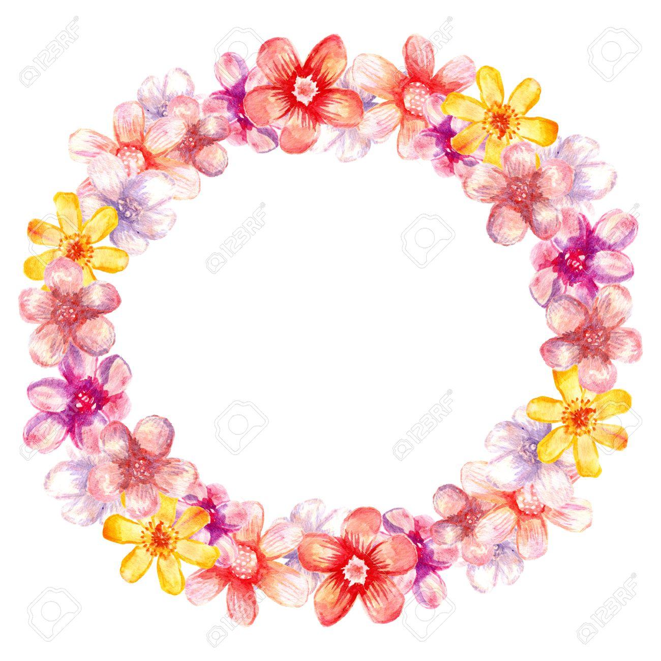 Runder Rahmen Aquarell Blumen Rahmen Fur Hochzeitseinladungskarte