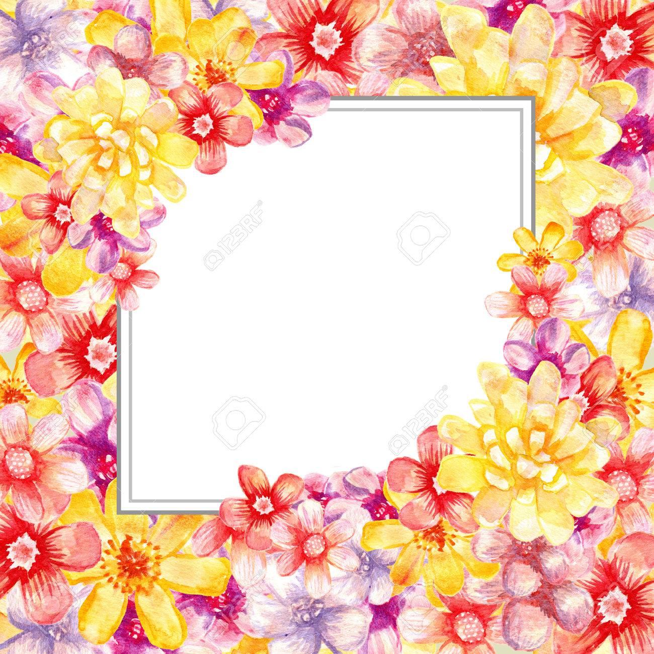 Aquarell Floralen Rahmen. Künstlerische Karte. Malerei Banner ...