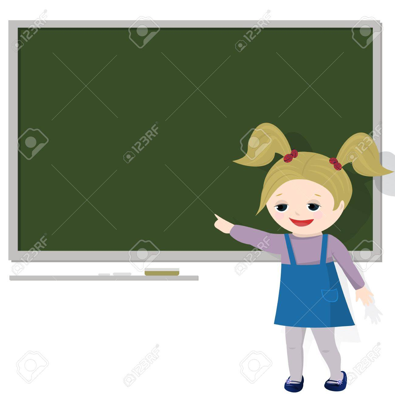 Empty cartoon classroom background - Girl In Classroom Pointing At Empty Blackboard For Text Isolated On White Background Stock Vector