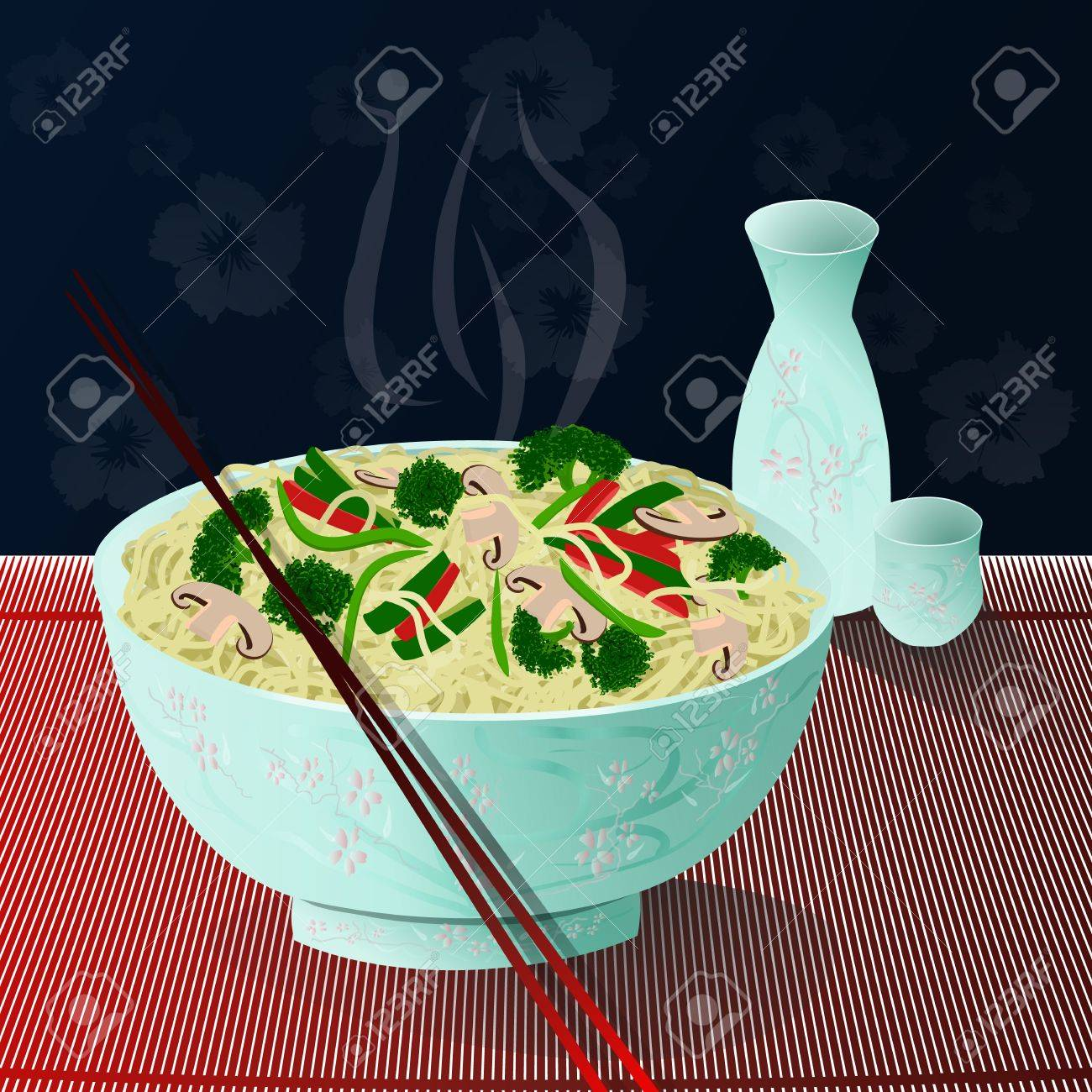 A bowl of hot, delicious noodles with vegetables and sake beside it Noodles2 Stock Vector - 12851874
