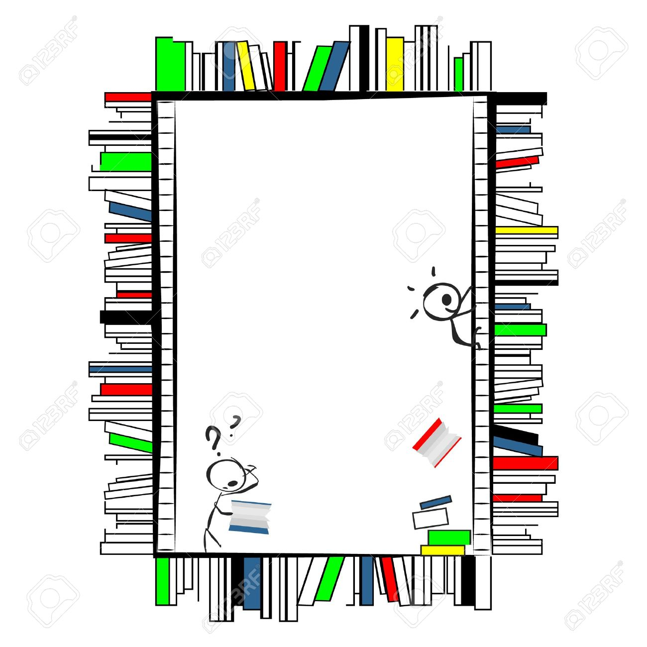 Funny cartoonish frame, made of books like shelves in library, with ladders  Two little doodle characters, one on ladder throwing the books down and other reading them Stock Vector - 12851924