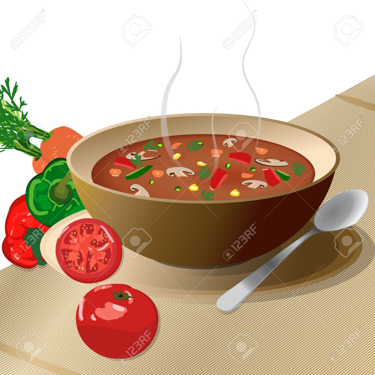 Bowl of hot vegetable soup on plate, with spoon and tomato, peppers, carrots, isolated on white Stock Vector - 12867980