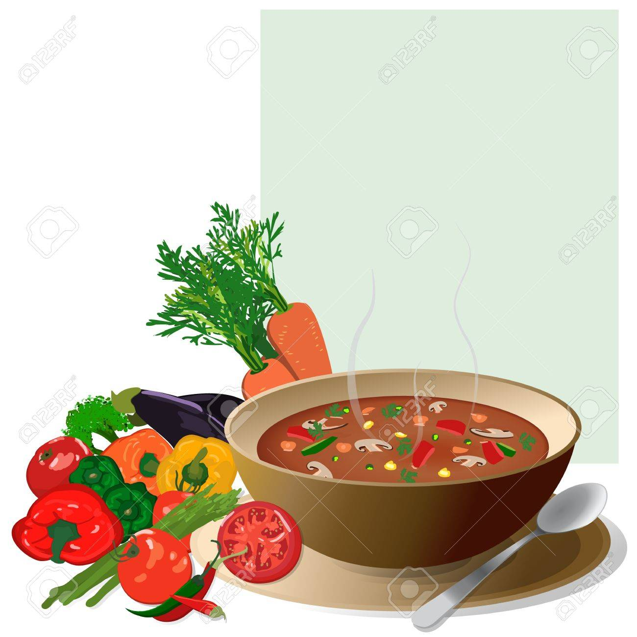 Vegetable soup, with fresh colorful vegetables around and a note for ingredients Isolated on white Stock Vector - 12867979