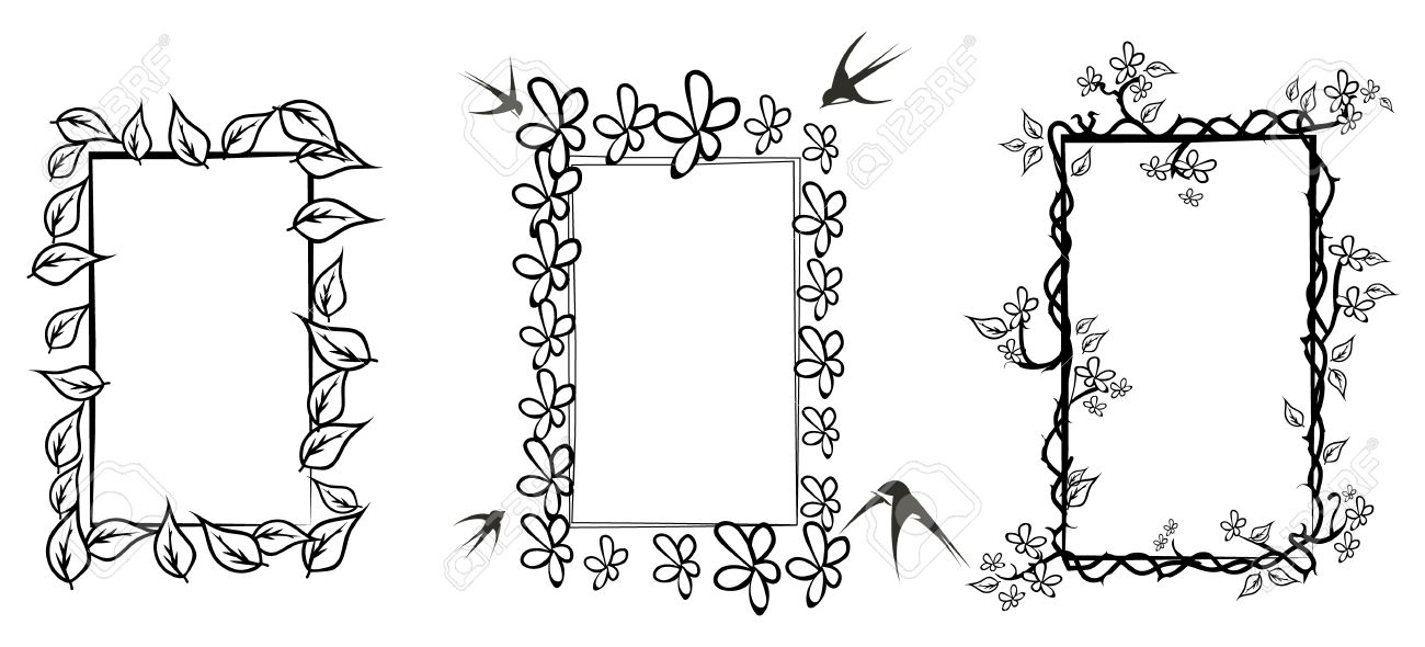 Three Floral Frames In Black And White,isolated On White Royalty ...