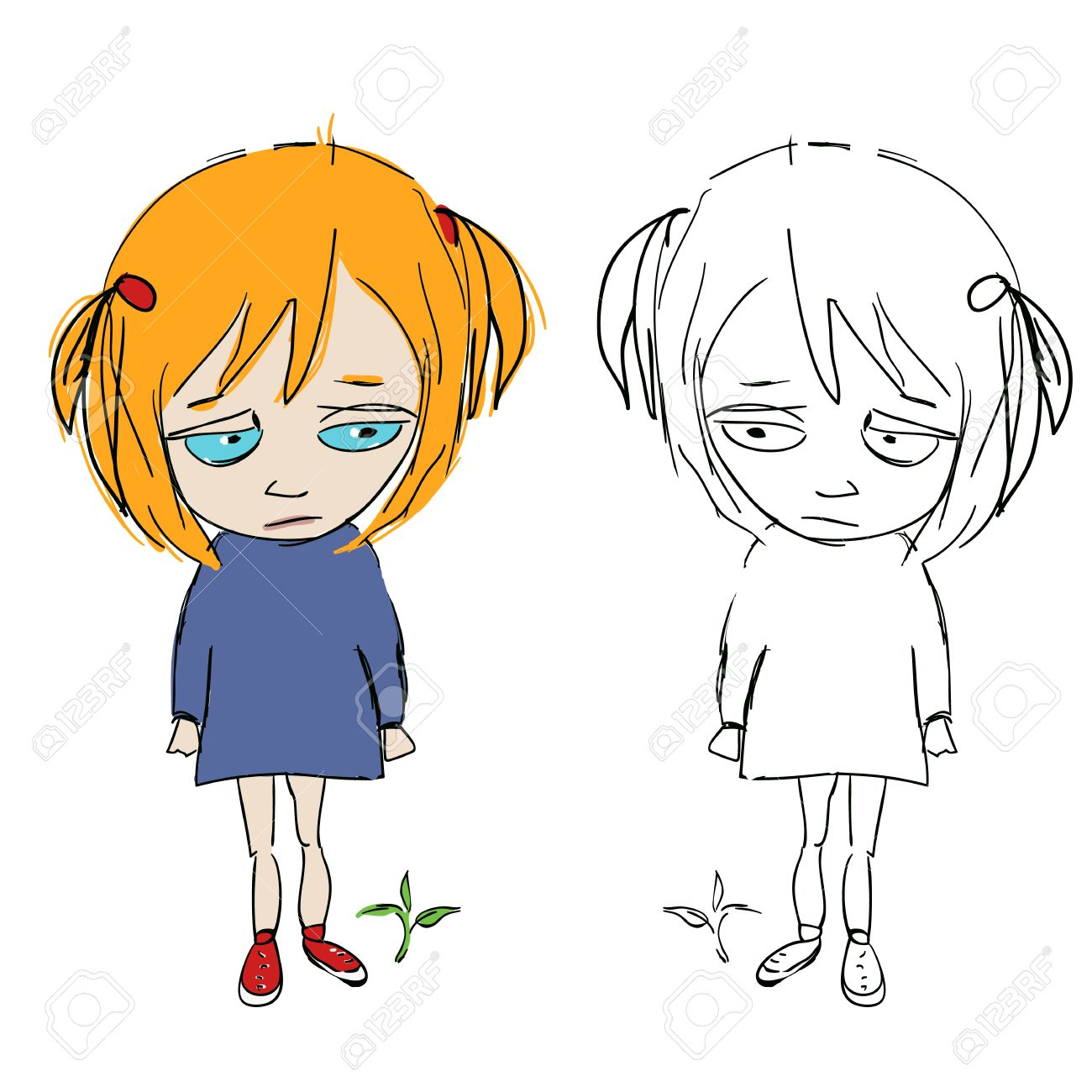 Cuteface cartoon girly,with her double in sketch/Comic grily Stock Vector - 13214748