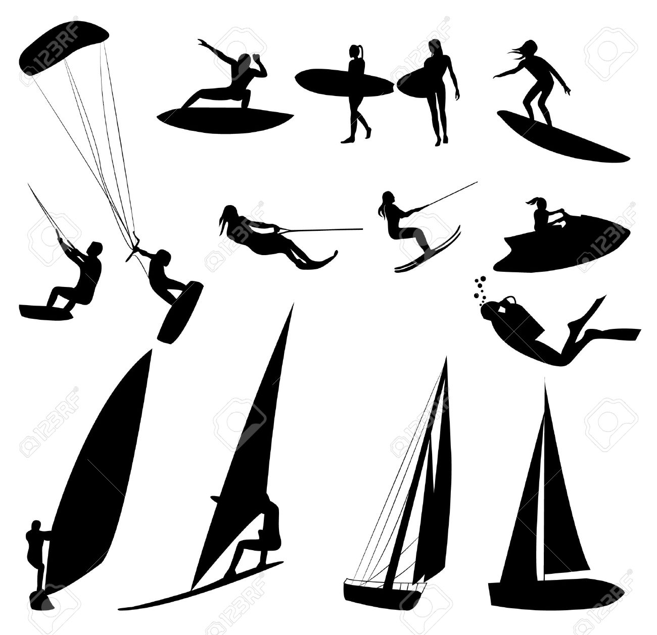 Silhouettes of water sports, isolated on white. Stock Photo - 13214738