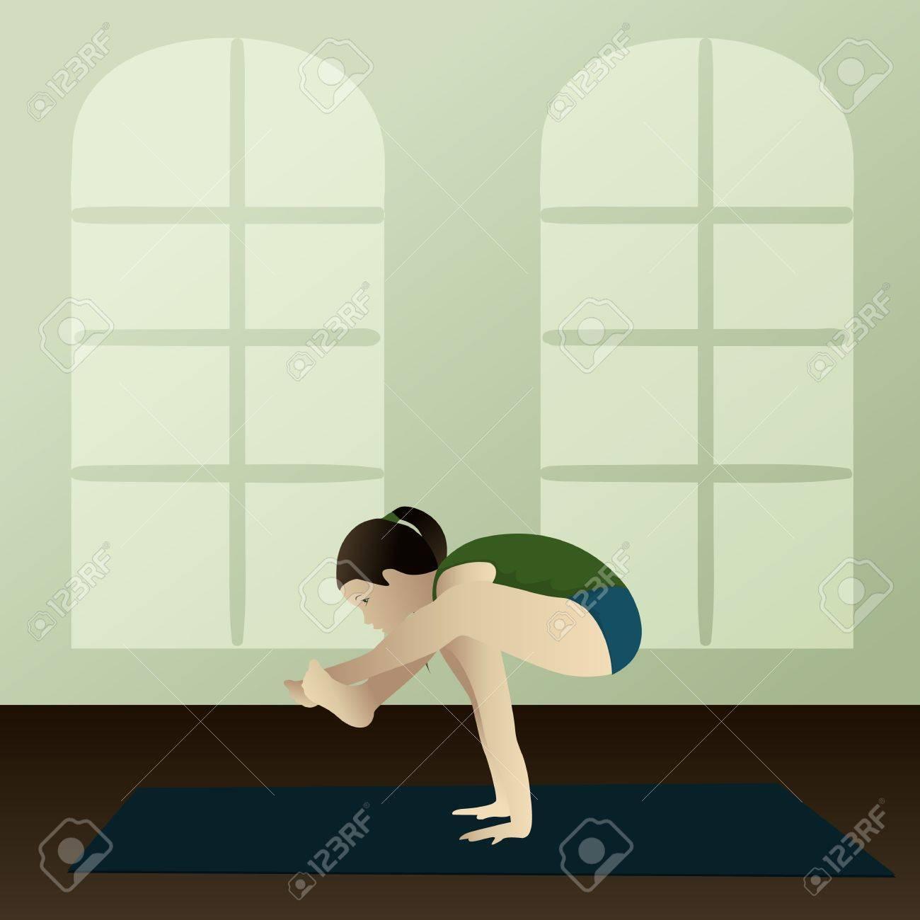 Young woman practicing yoga Bhujapidasana Shoulder Pressing Yoga Pose Stock Vector - 13373593