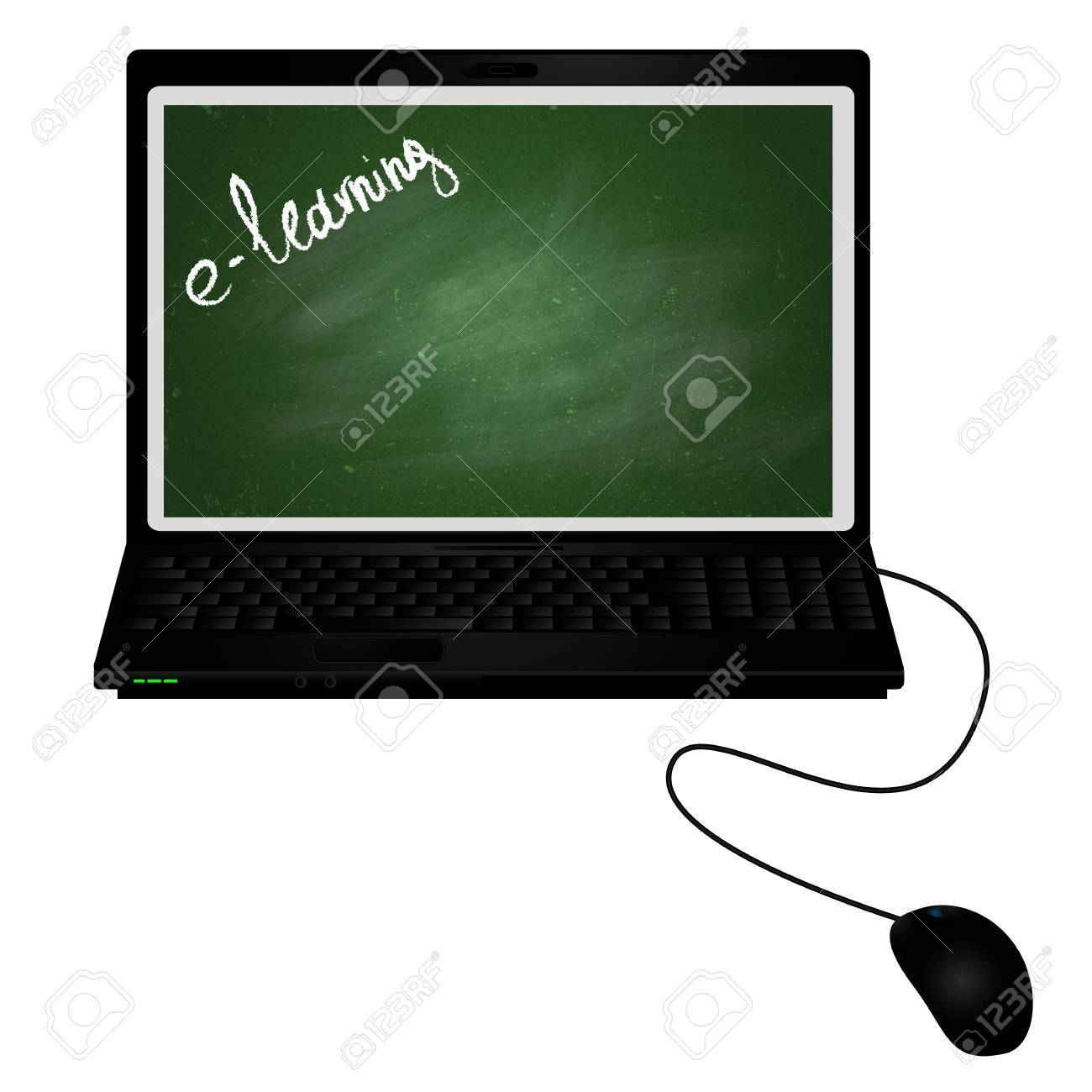 Lap top with chalkboard on the screen, e-learning with chalk Stock Photo - 13746337