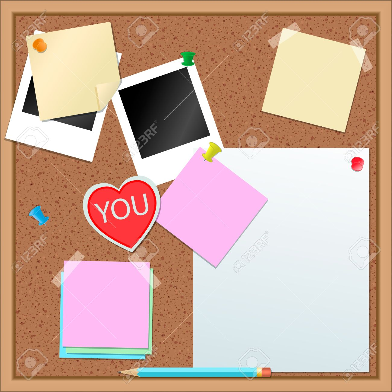 Paper stickers and other items on cork-board Stock Vector - 14223175