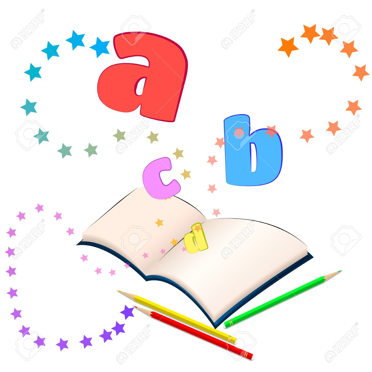 magic of learning open book with colorful stars and letters rh 123rf com