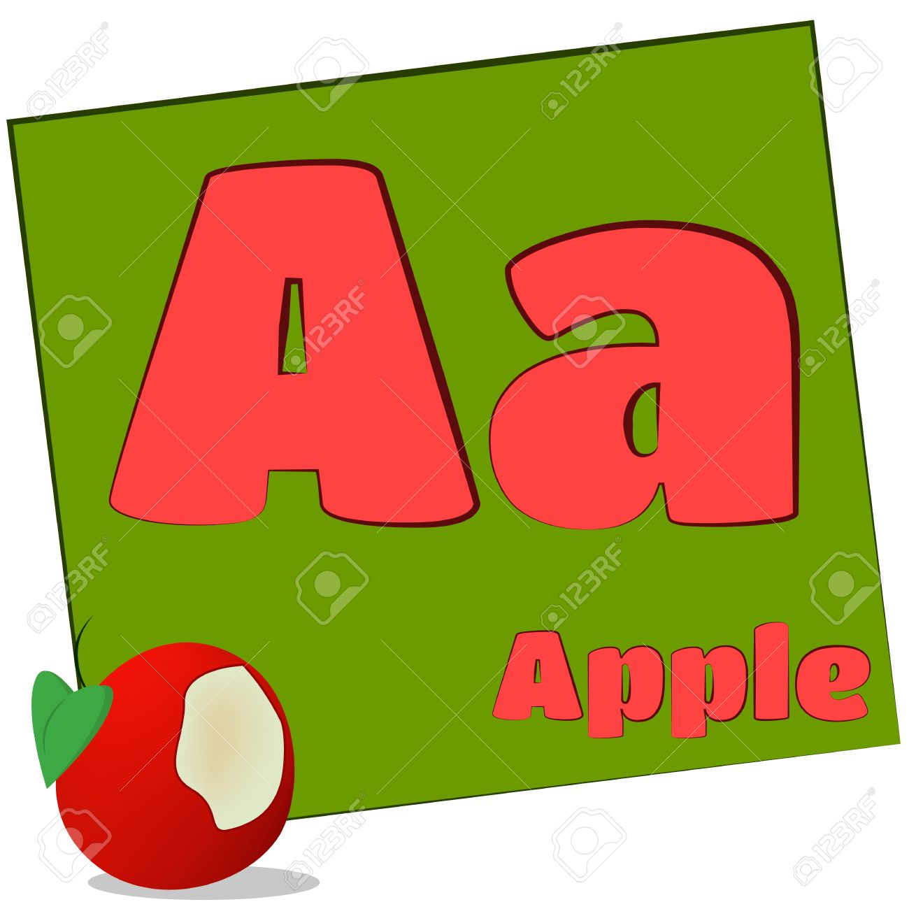 A apple Colorful Alphabet Letters With Words Starting With Each