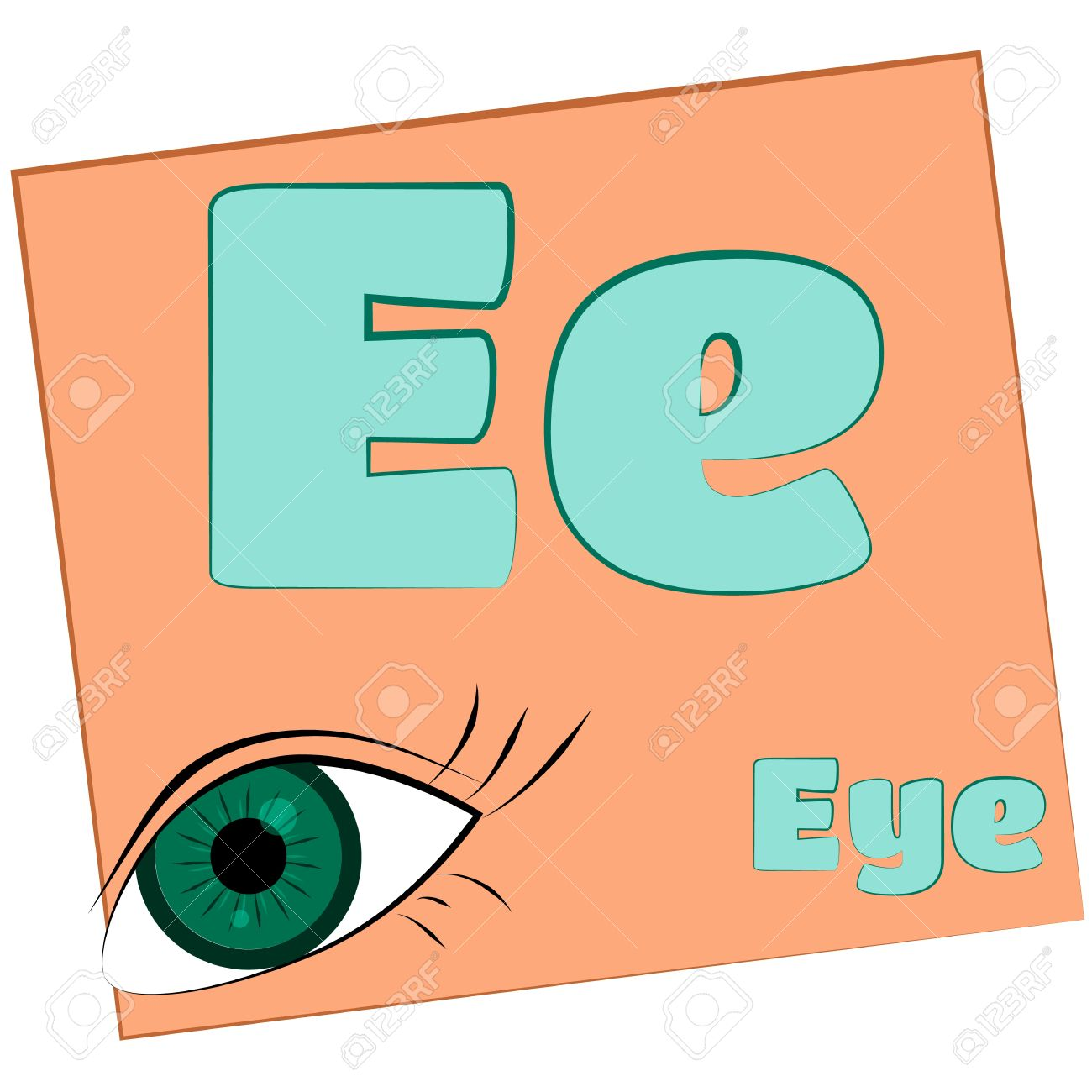 E eye Colorful Alphabet Letters With Words Starting With Each