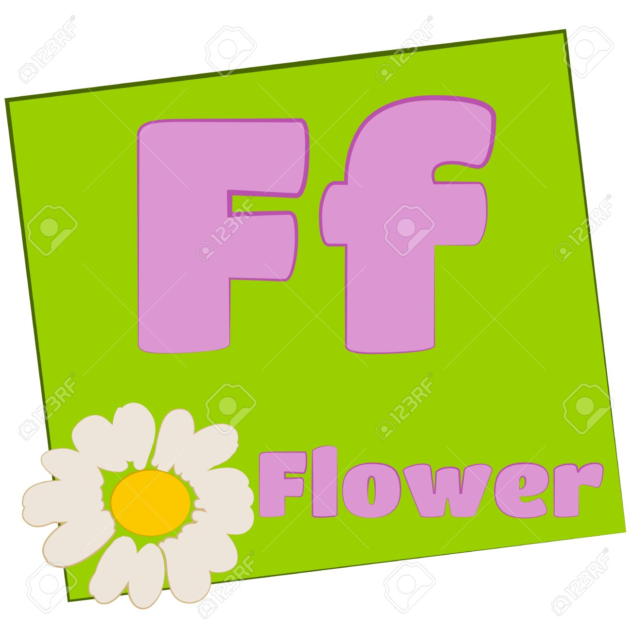 F-flower Colorful alphabet letters with words starting with each and their image Stock Photo - 14267643