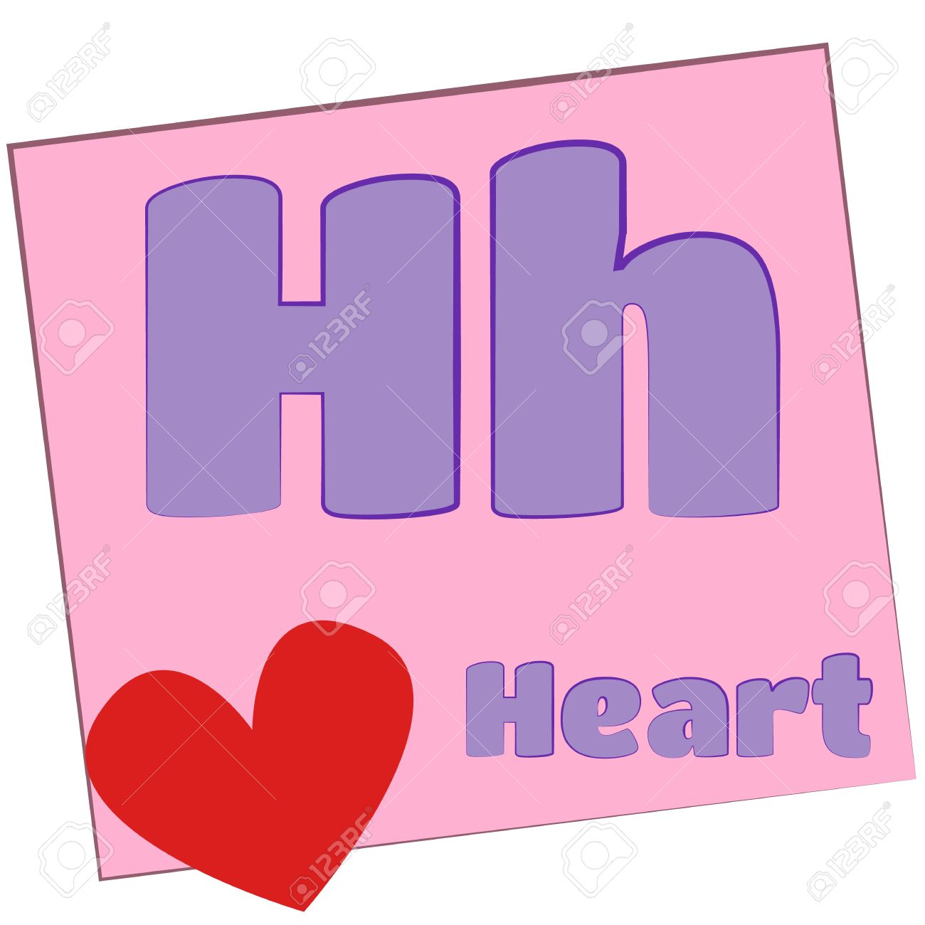 H-heart Colorful alphabet letters with words starting with each