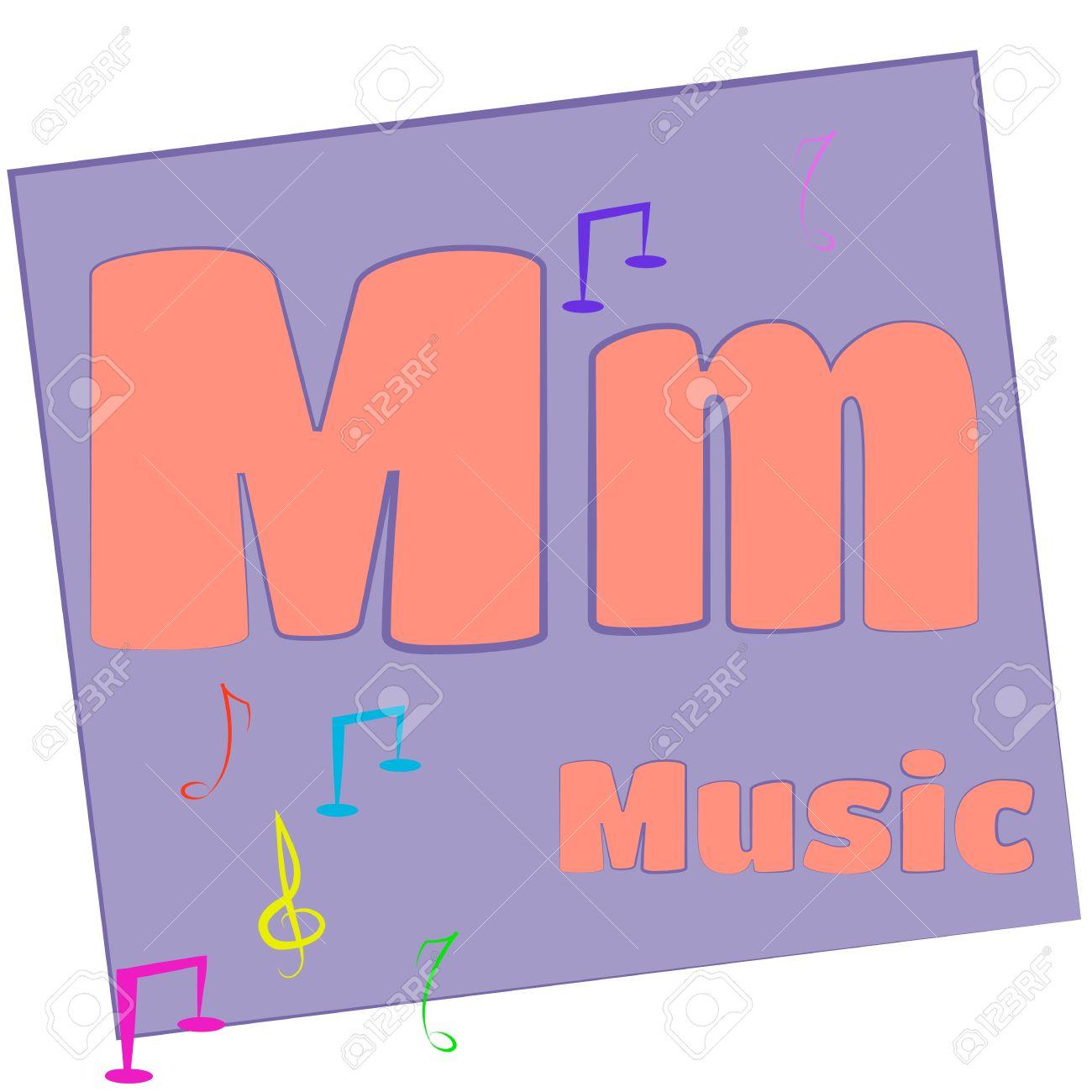 M-música las letras del alfabeto de colores con palabras que empiecen con cada una y su imagen Foto de archivo - 14267642