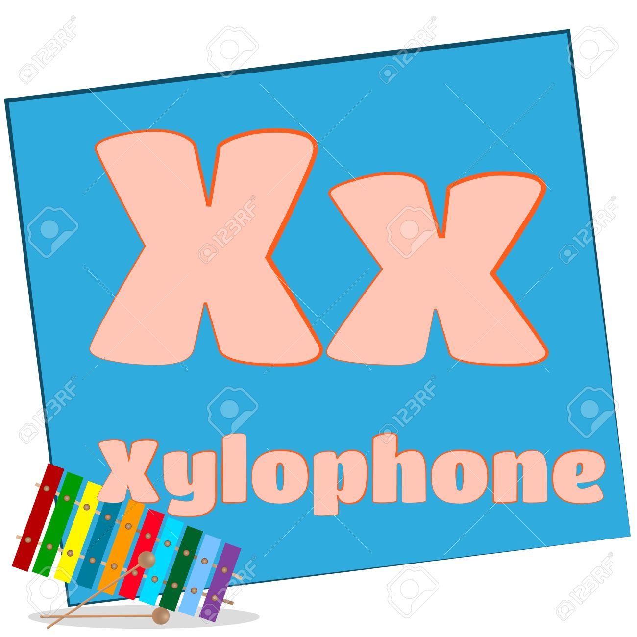 それぞれで始まる単語と X 木琴カラフルなアルファベット文字や彼らのイメージ 写真