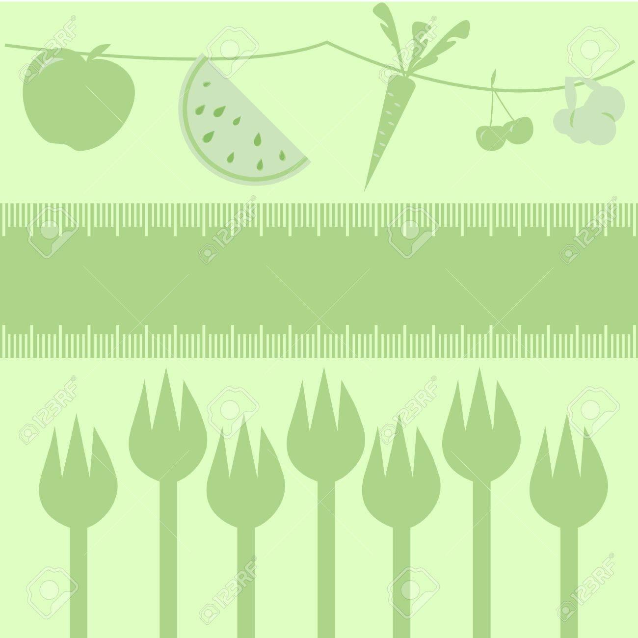 Gesunde Ernährung Obst, Gemüse Und Gabel / Rahmen Maßband Grenze Für ...