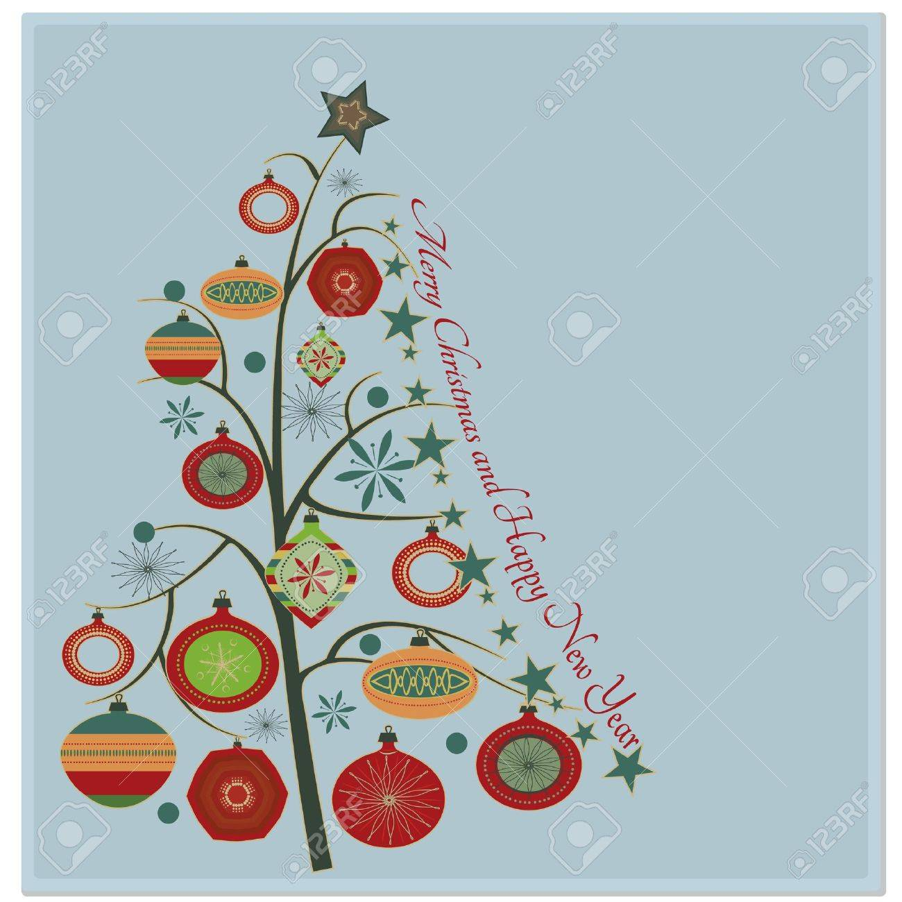 Christmas tree Stylish retro Christmas tree with Merry Christmas and Happy New year greeting text Stock Vector - 15427843