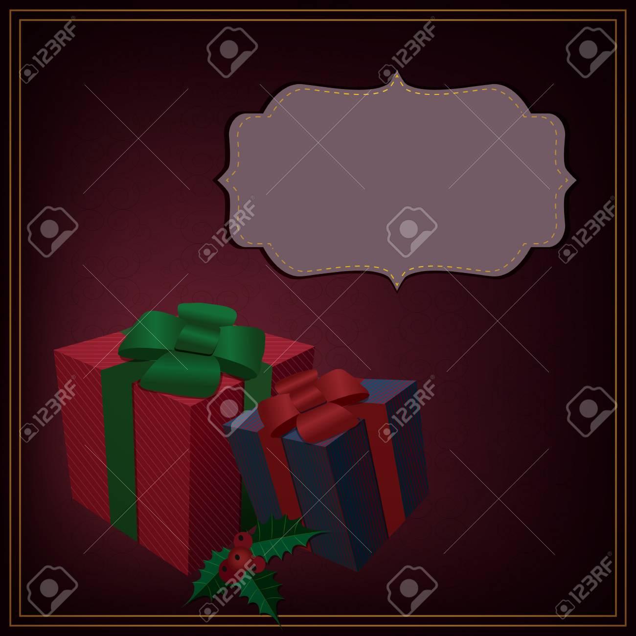 Regali Di Natale Eleganti.Immagini Stock Regali Di Natale Elegante Cornice Retro Con I Regali Di Natale Image 15428104