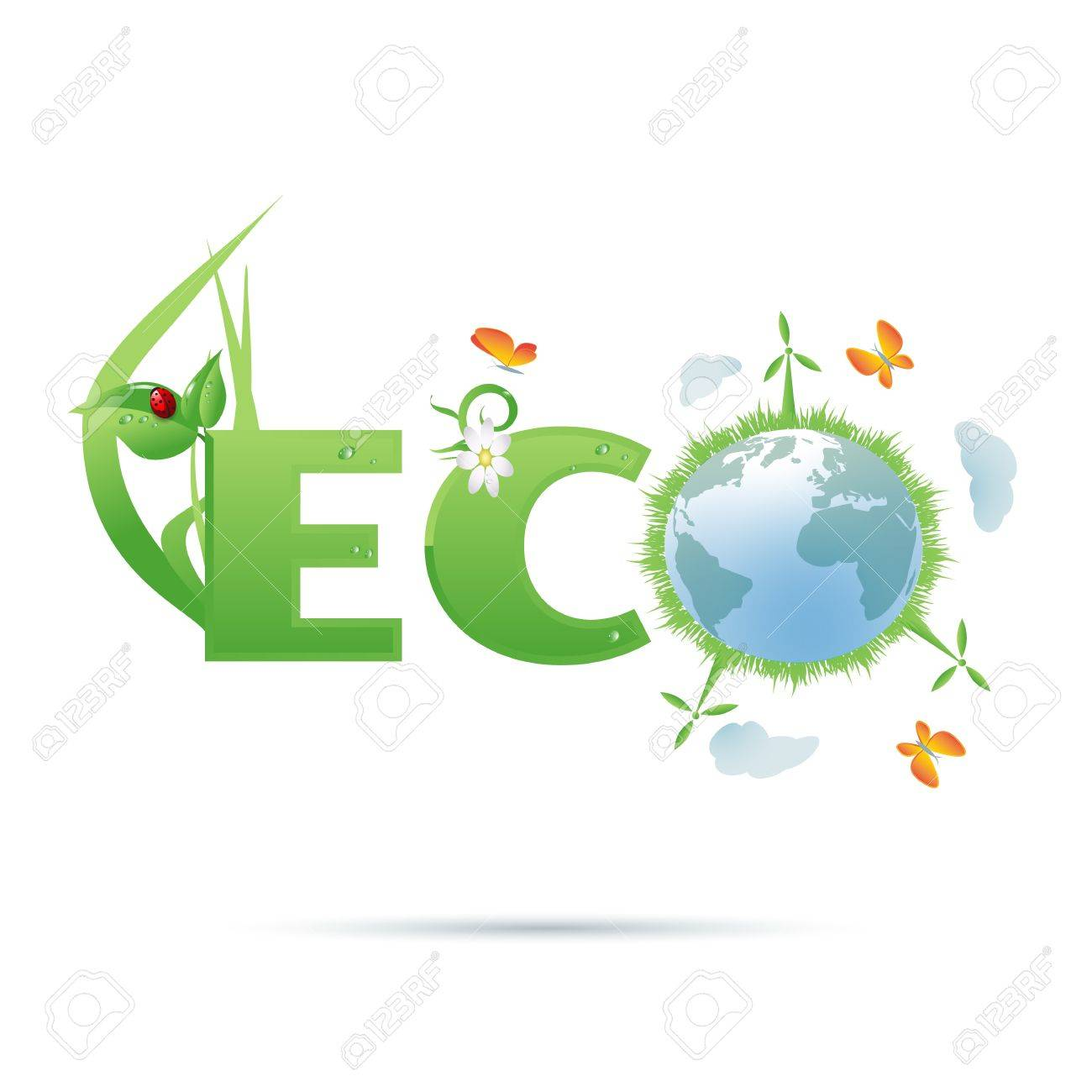 Eco-planet text symbol Stock Vector - 16218666
