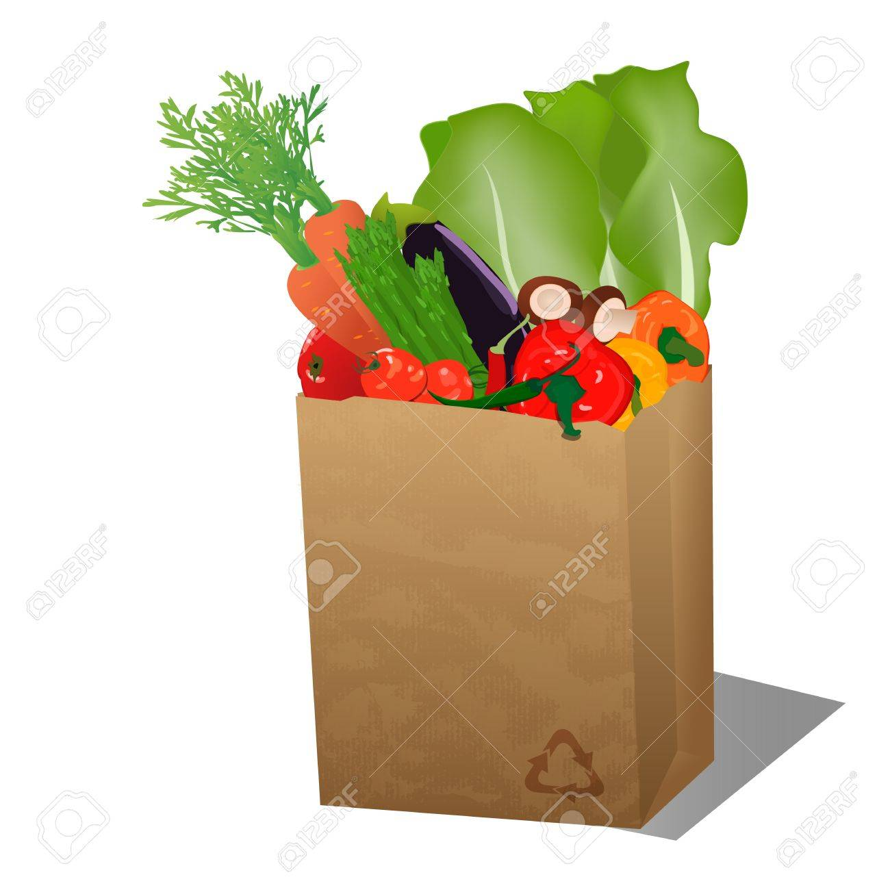 Recycled sopping paper bag with veggies Stock Vector - 16218669