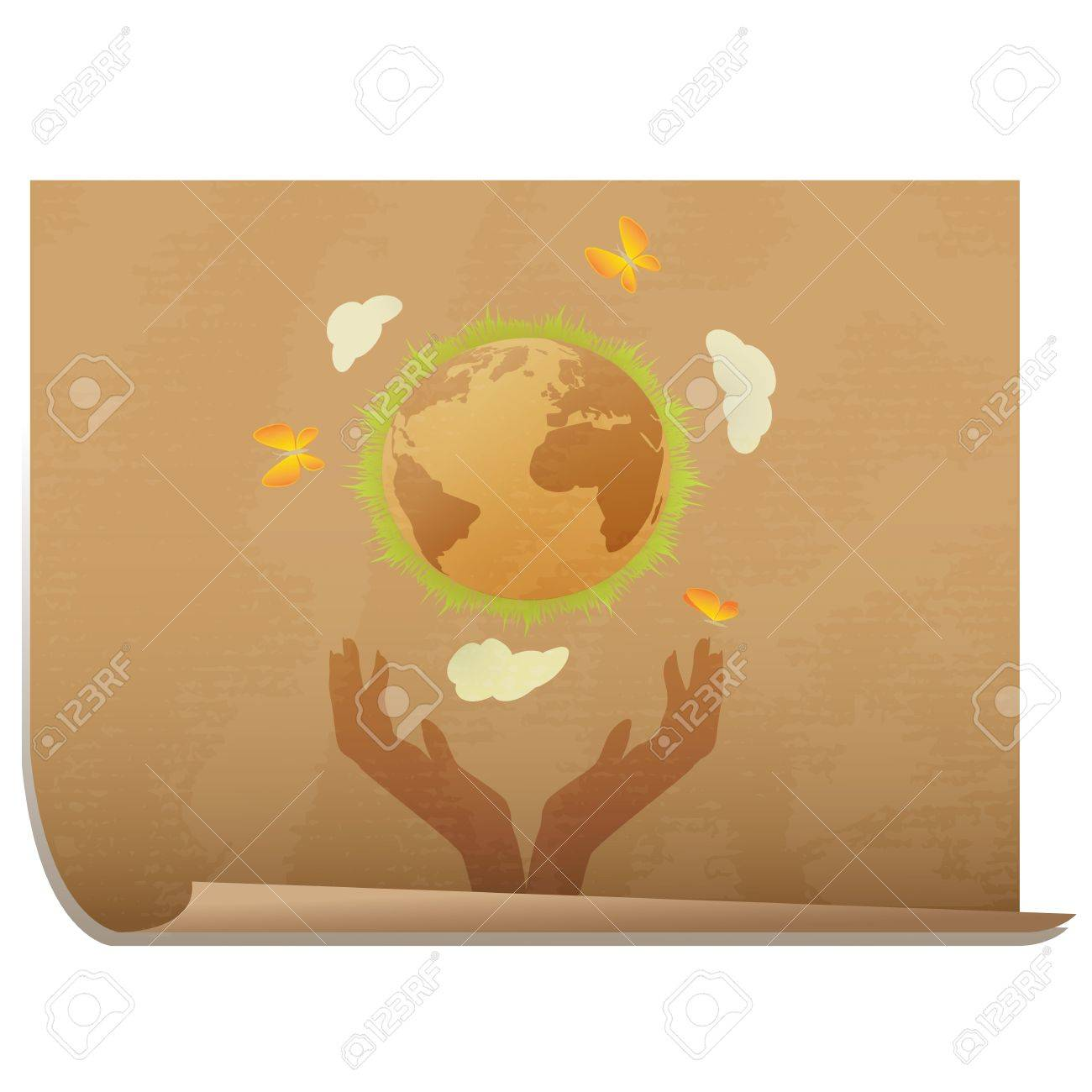 Protect the planet elegant banner/ Hands holding the earth with grass and butterflies, on carton like textured paper Stock Vector - 16494534