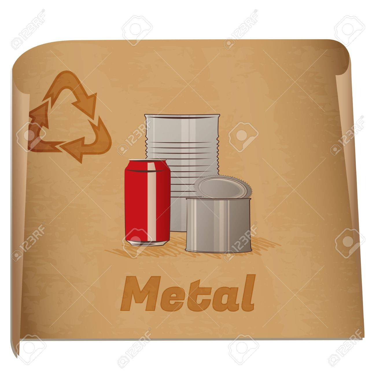 recycling metal memoretro recycling banner with metal cans stock vector 16494532