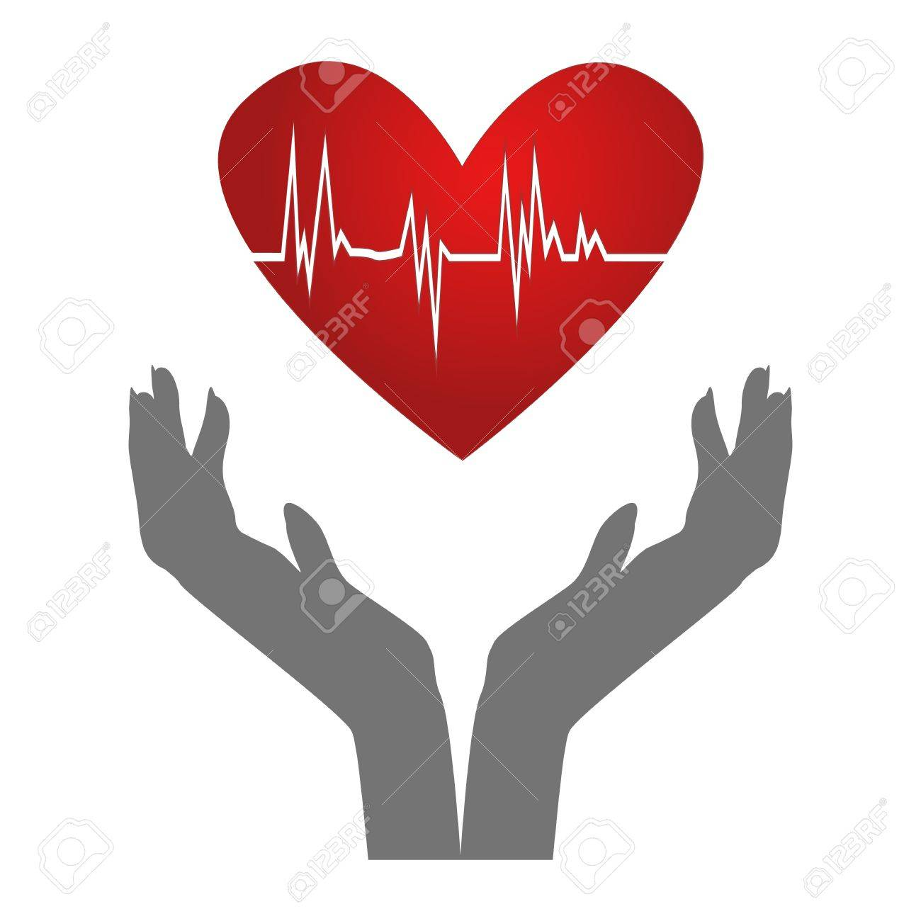 Heartbeat/Silhouette of hands holding heart with ecg inside isolated on white Stock Photo - 16784680