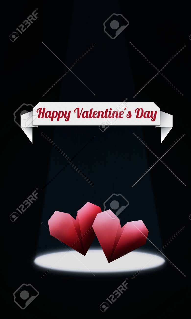 Origami Hearts/ Elegant Valentine's Day background, with red origami hearts in spotlight Stock Photo - 16970085