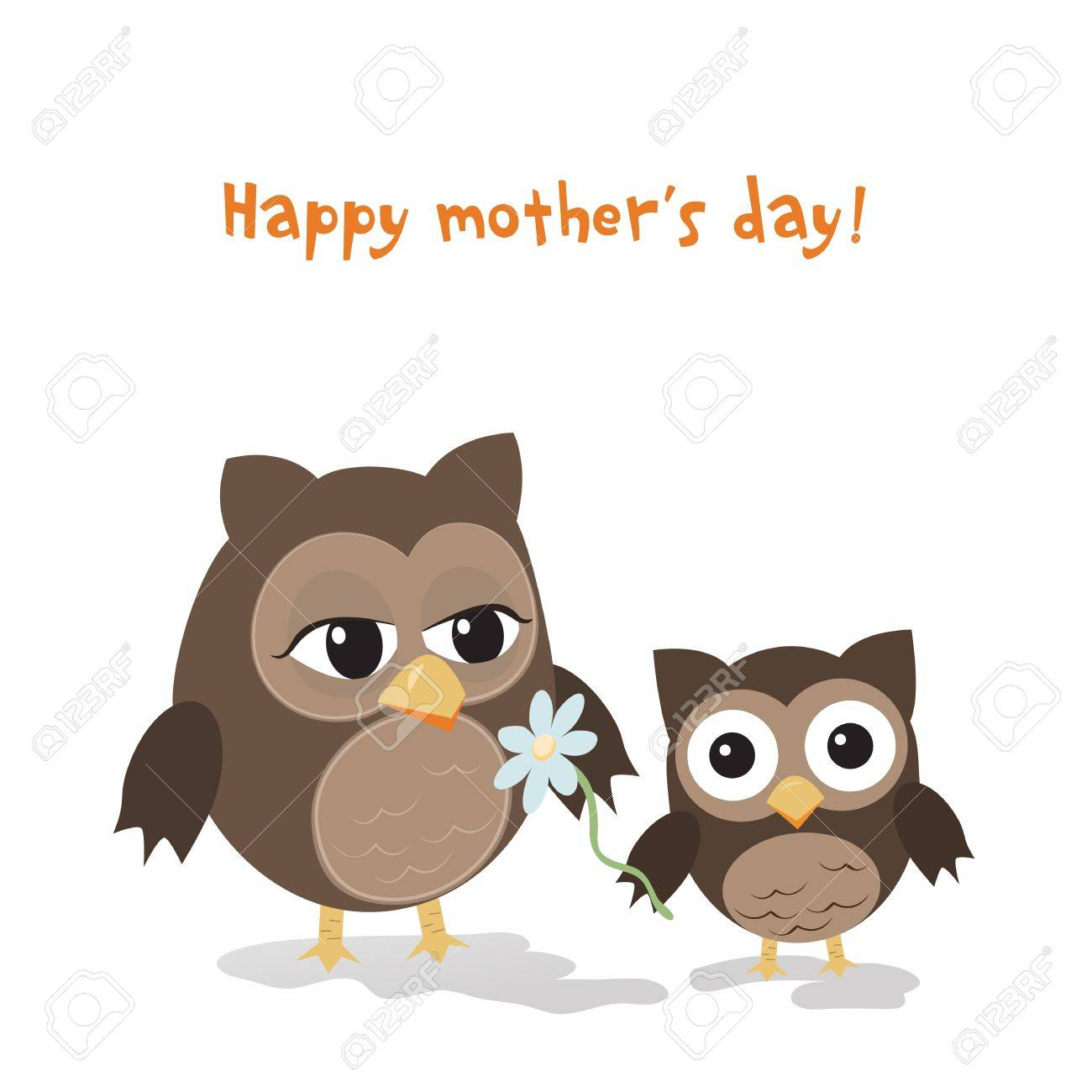 Mother's day owl/Cute illustration of happy mother and kid owl isolated on white Stock Vector - 18141167