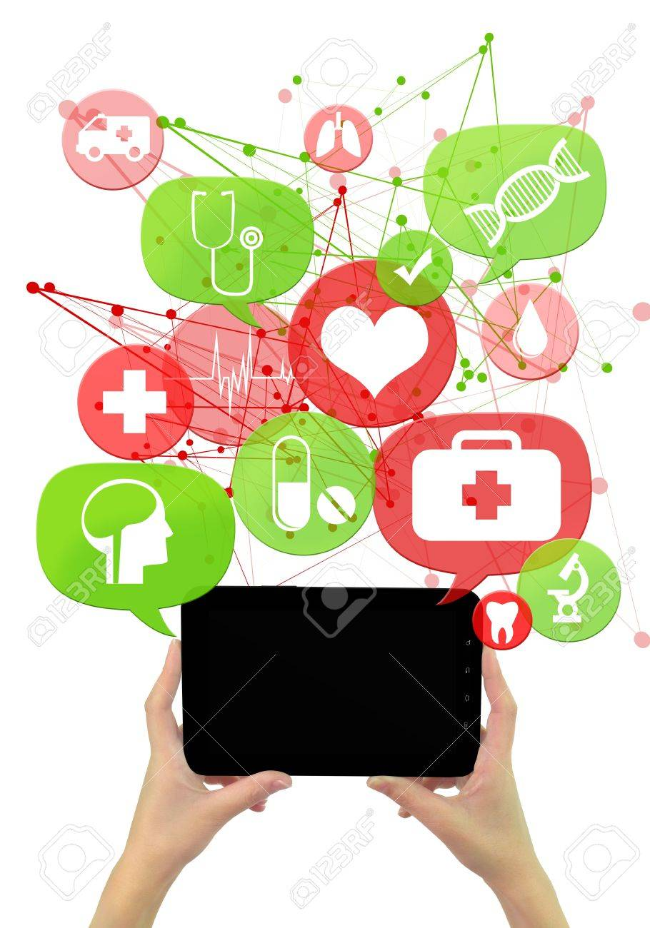 Online medical or pharmacy business template./ Hands holding tablet,green and red transparent beveled bubbles/buttons floating of it with medical icons Stock Photo - 21080452