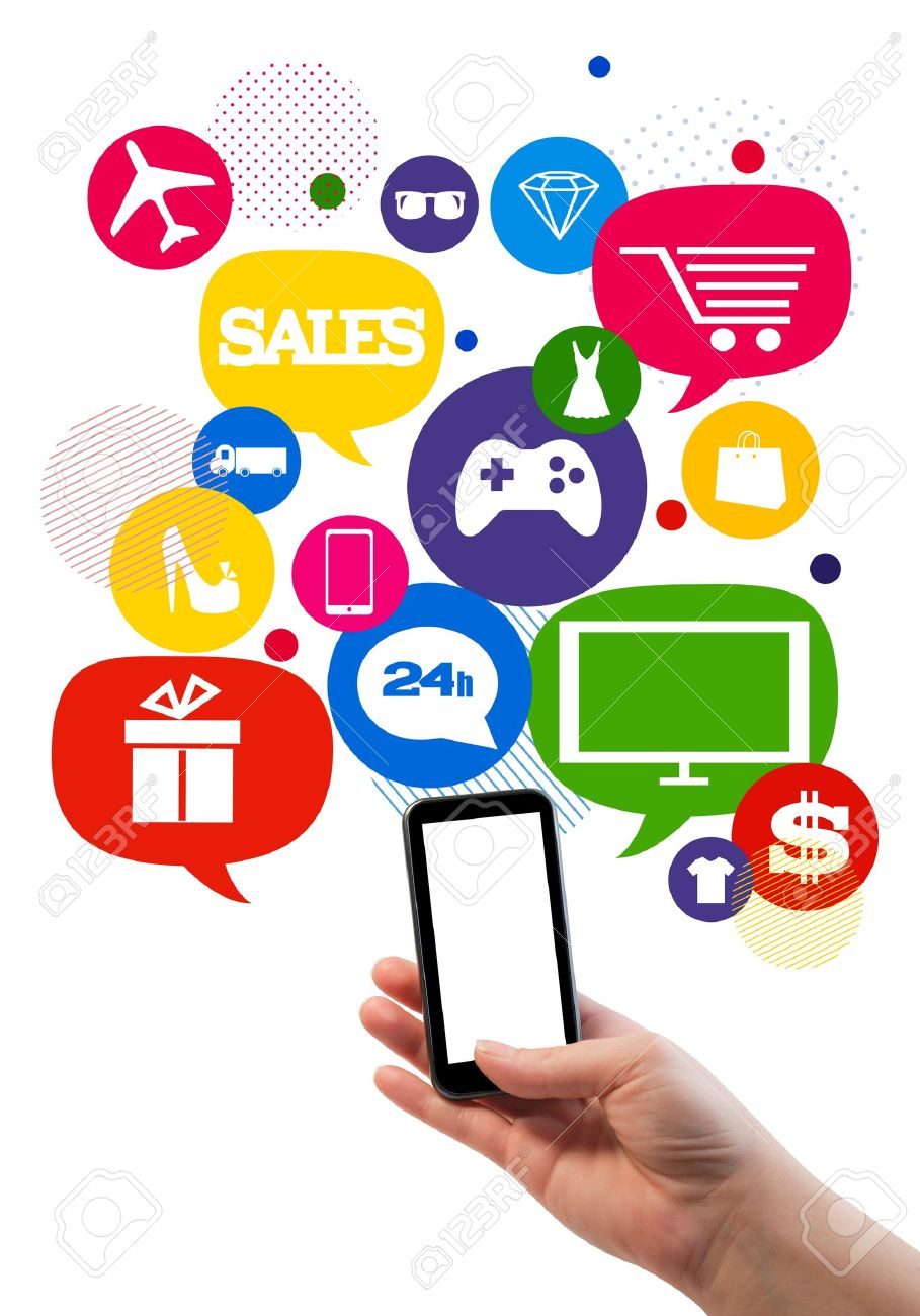 Online sales shopping or shop business template   Hand holding mobile phone, bubbles buttons floating of it with online shopping icons Stock Photo - 21803599