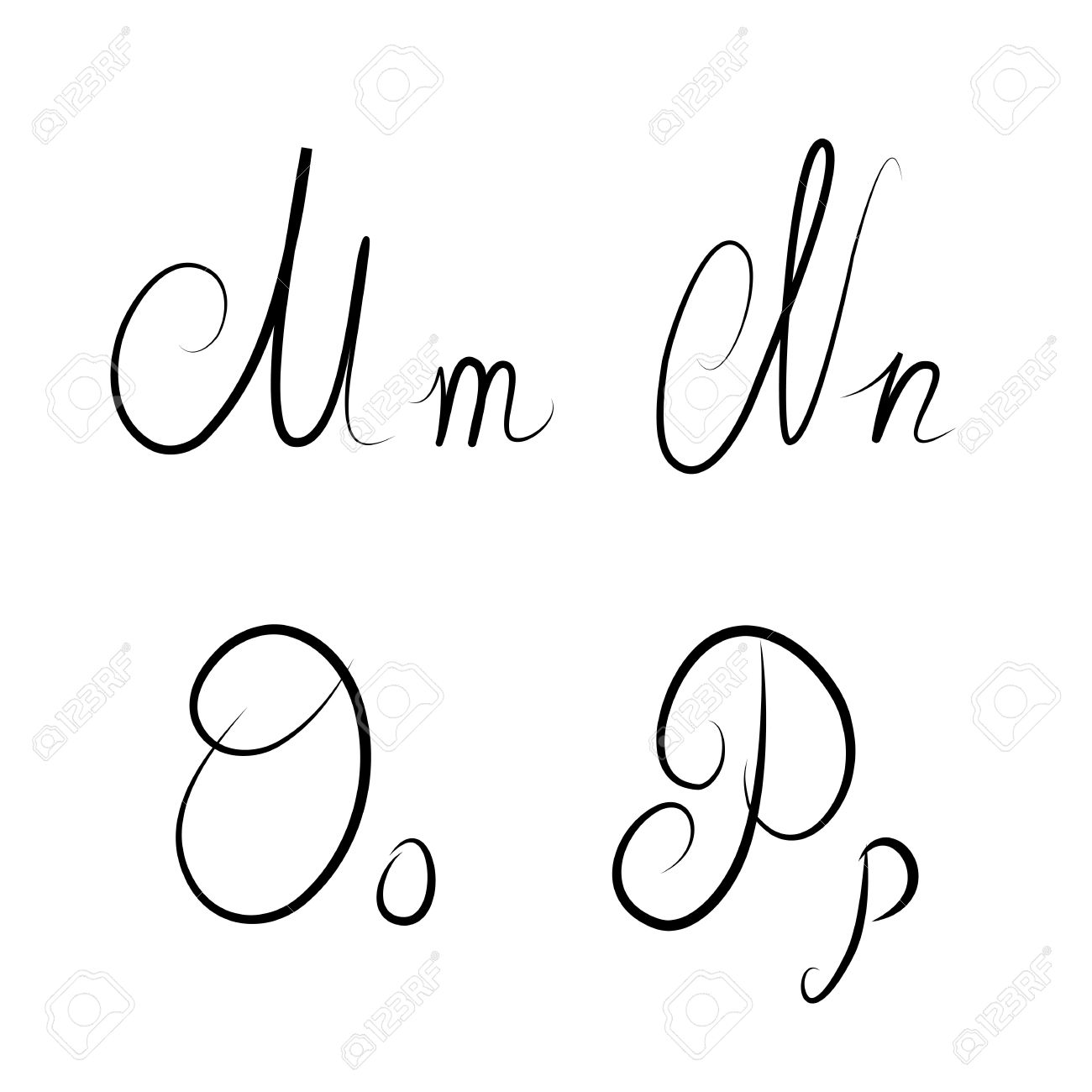 Hand Drawn Calligraphic Letters MNOP Isolated Stock Photo