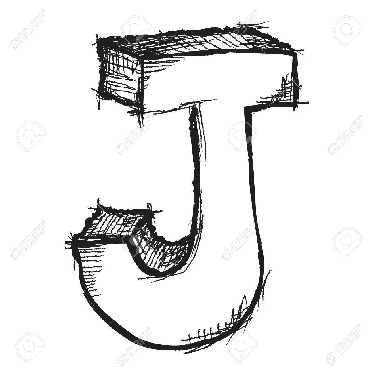 Lovely Sketchy Hand Drawn Letter J Isolated On White Stock Photo   27333575