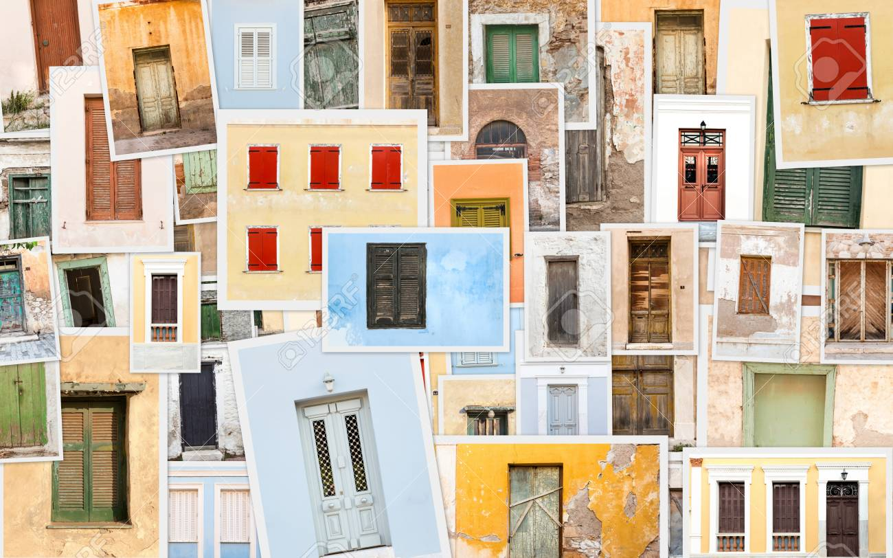 Collage with colorful variety of old retro doors and windows