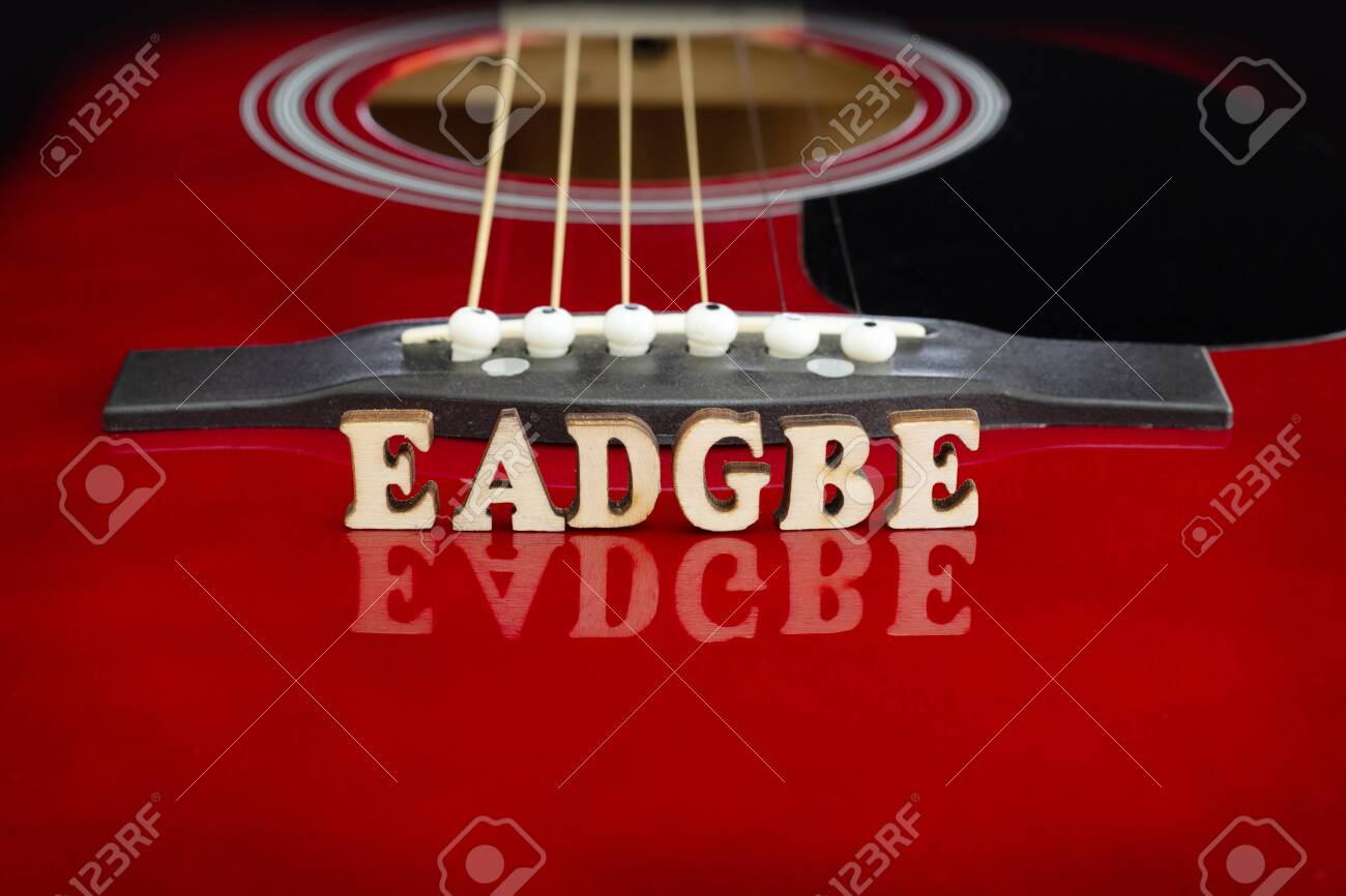 Musical notes EADGBE in corresponding to strings arrangement,