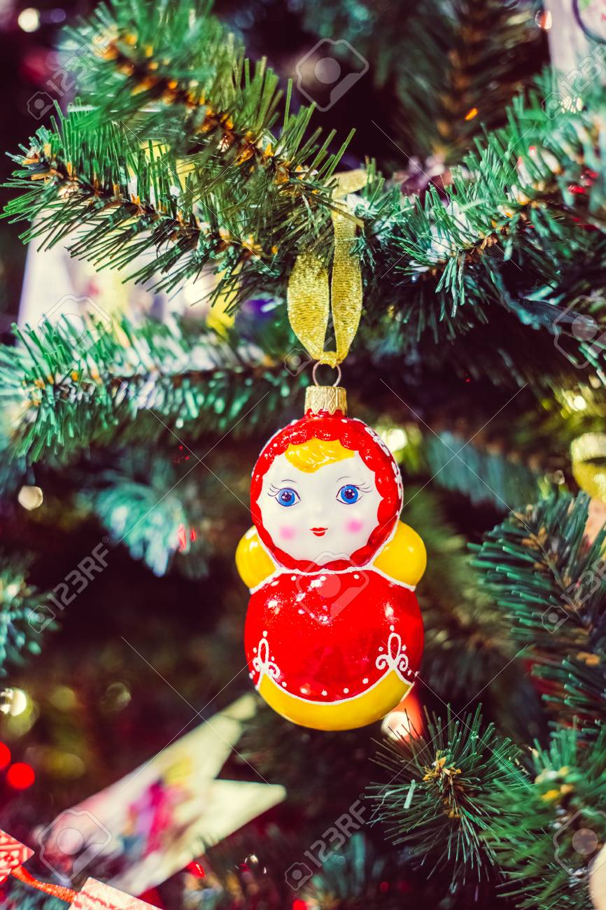 russian christmas matryoshka doll decorations on the christmas
