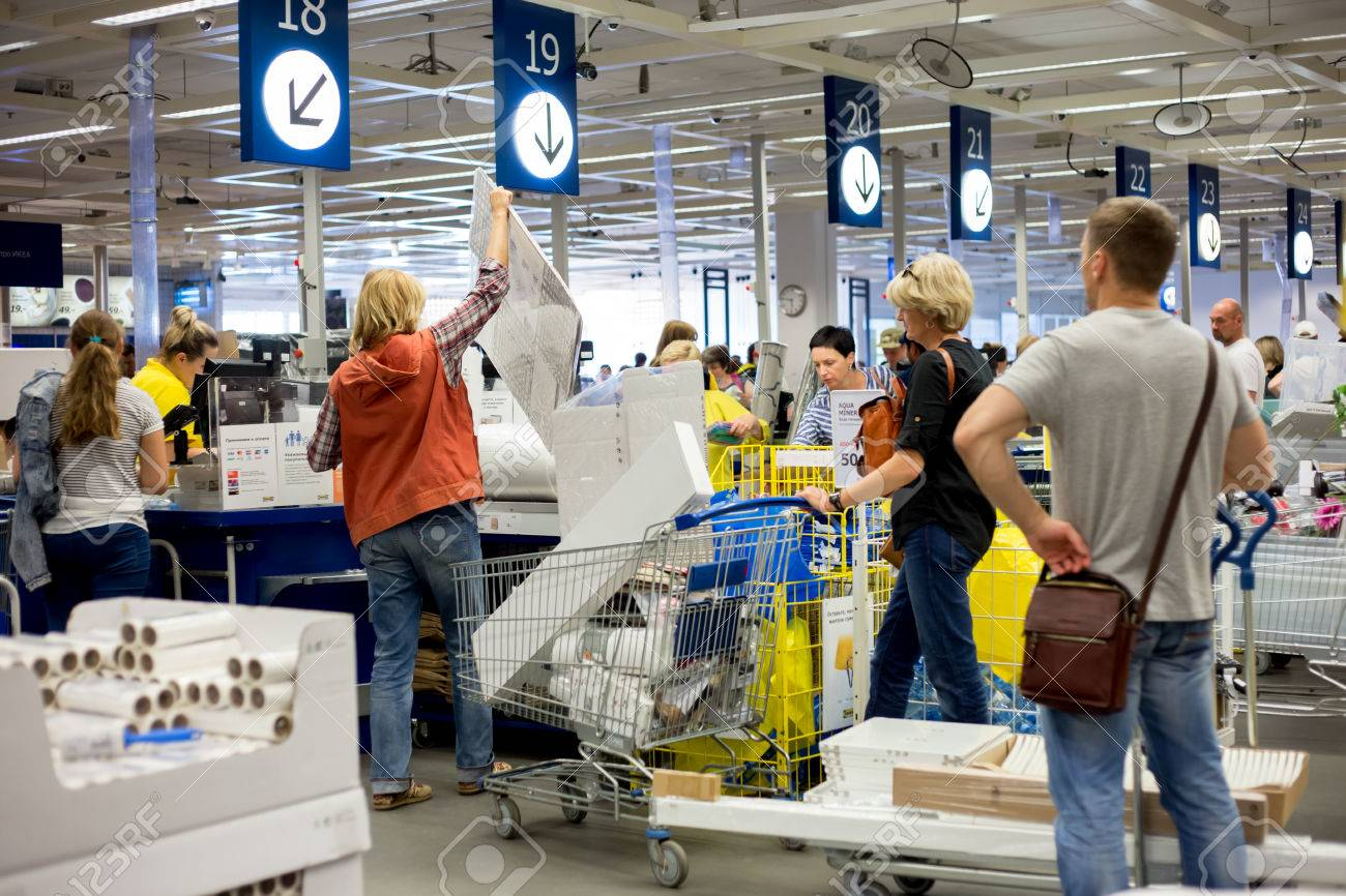 Wonderlijk Russia, Moscow - 14 July 2017: At The Checkout Line In IKEA Store XR-96