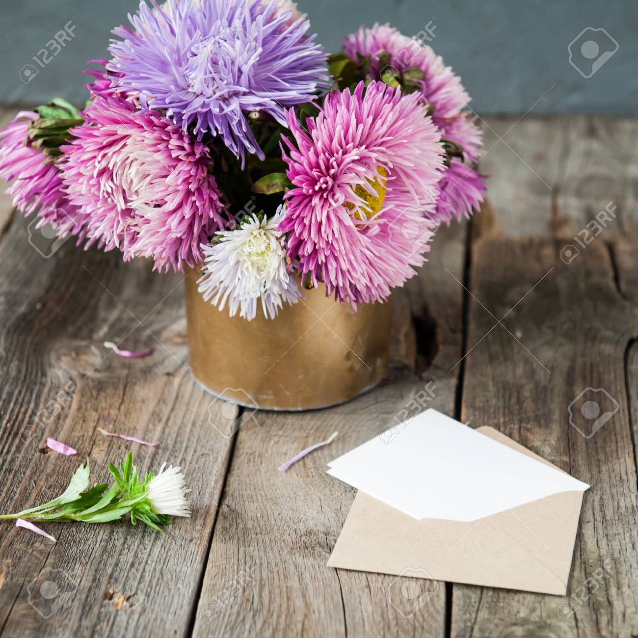 Multicolor Aster Flowers Bouquet Blank White Greeting Card And