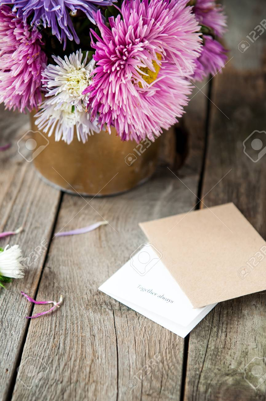 Multicolor aster flowers bouquet card with words together always multicolor aster flowers bouquet card with words together always craft paper envelope on rustic izmirmasajfo