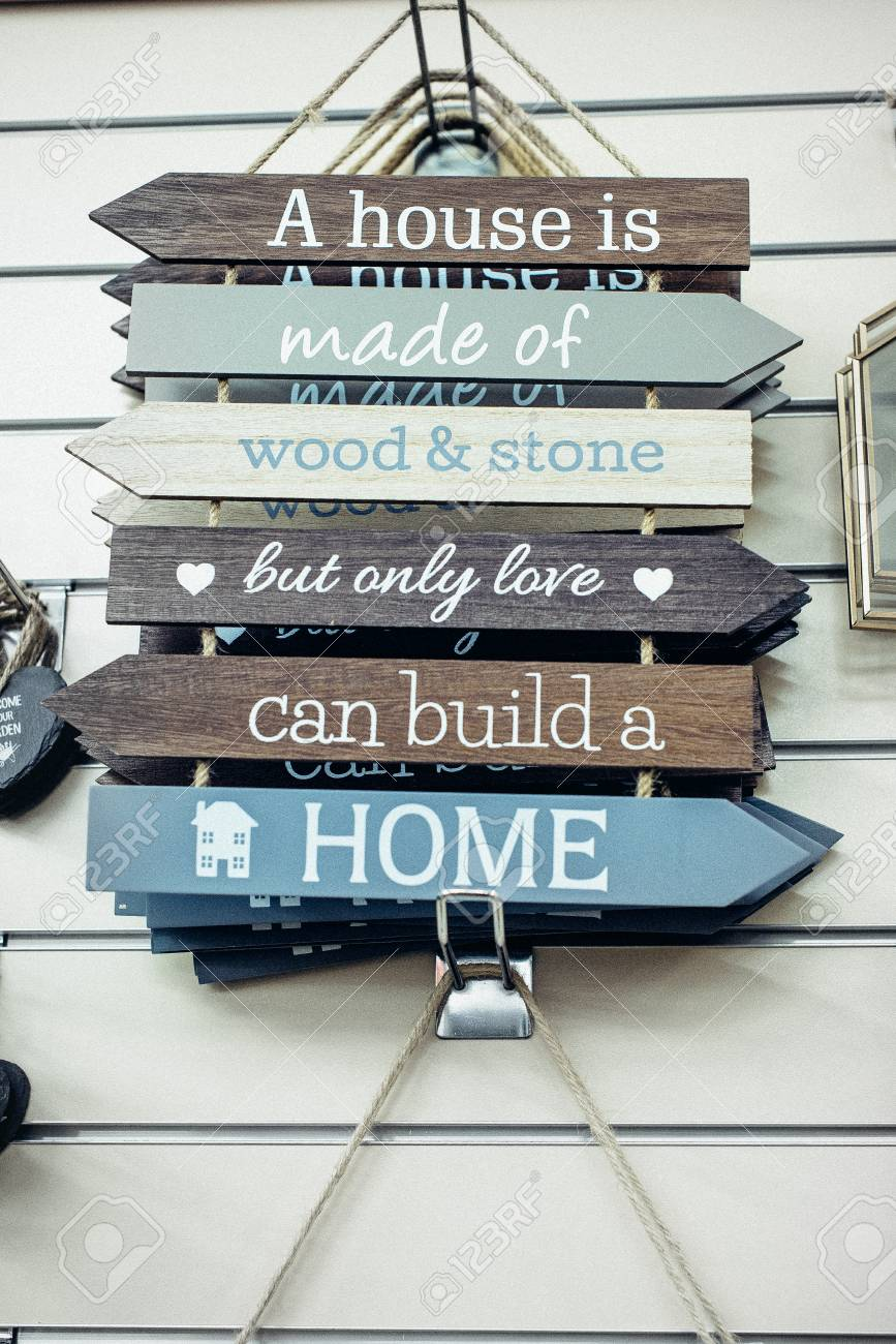 Composition of wooden painted breds with Motivational and inspirational..