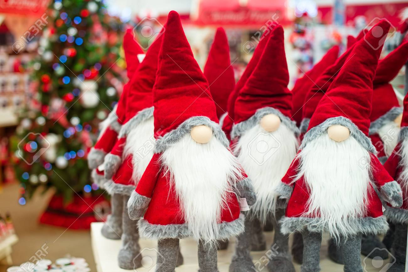 Christmas Stuff.Close Up Santa Claus Gnome Dolls And Christmas Stuff In The Shop