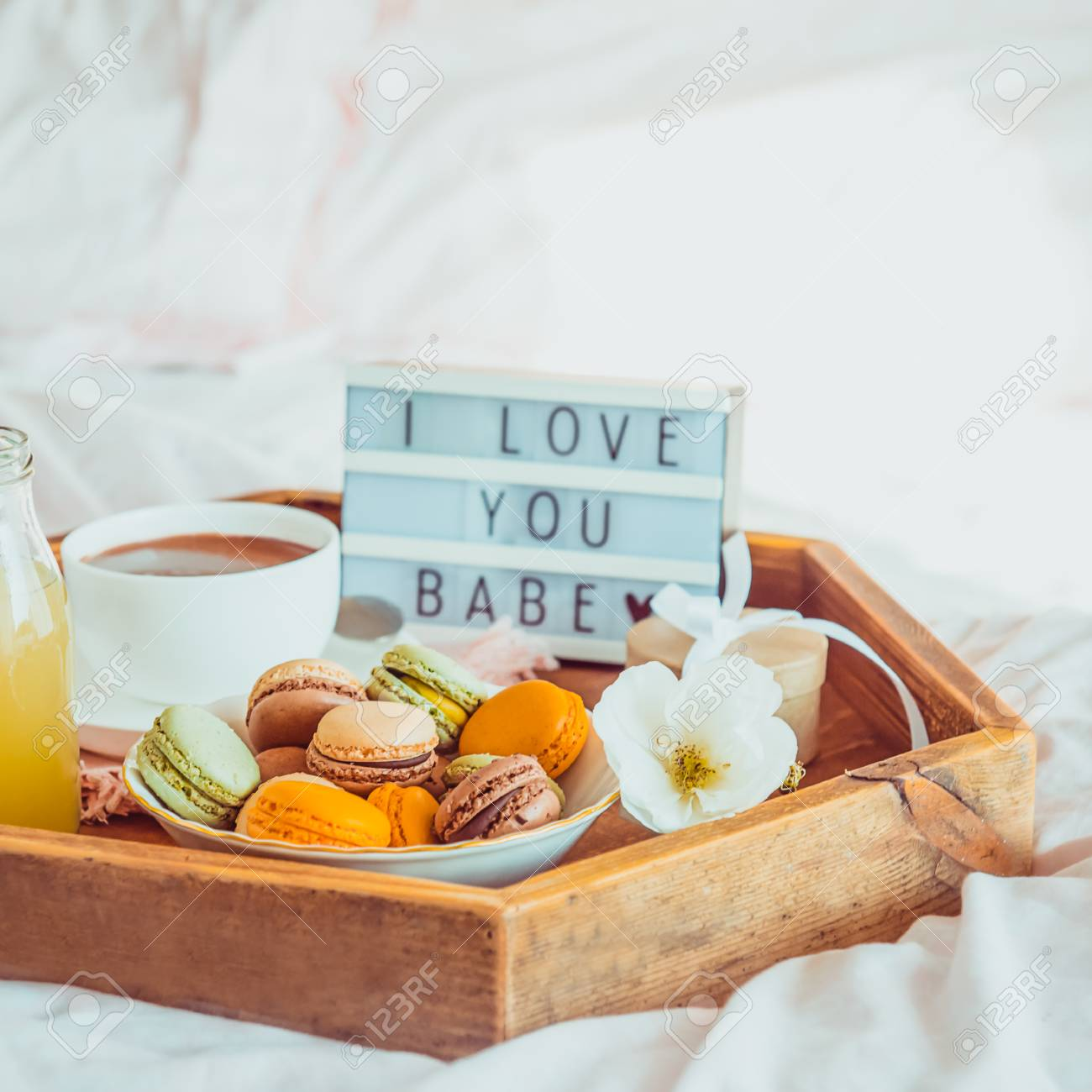 Close Up Romantic Breakfast In Bed With I Love You Baby Text Stock Photo Picture And Royalty Free Image Image 113136913
